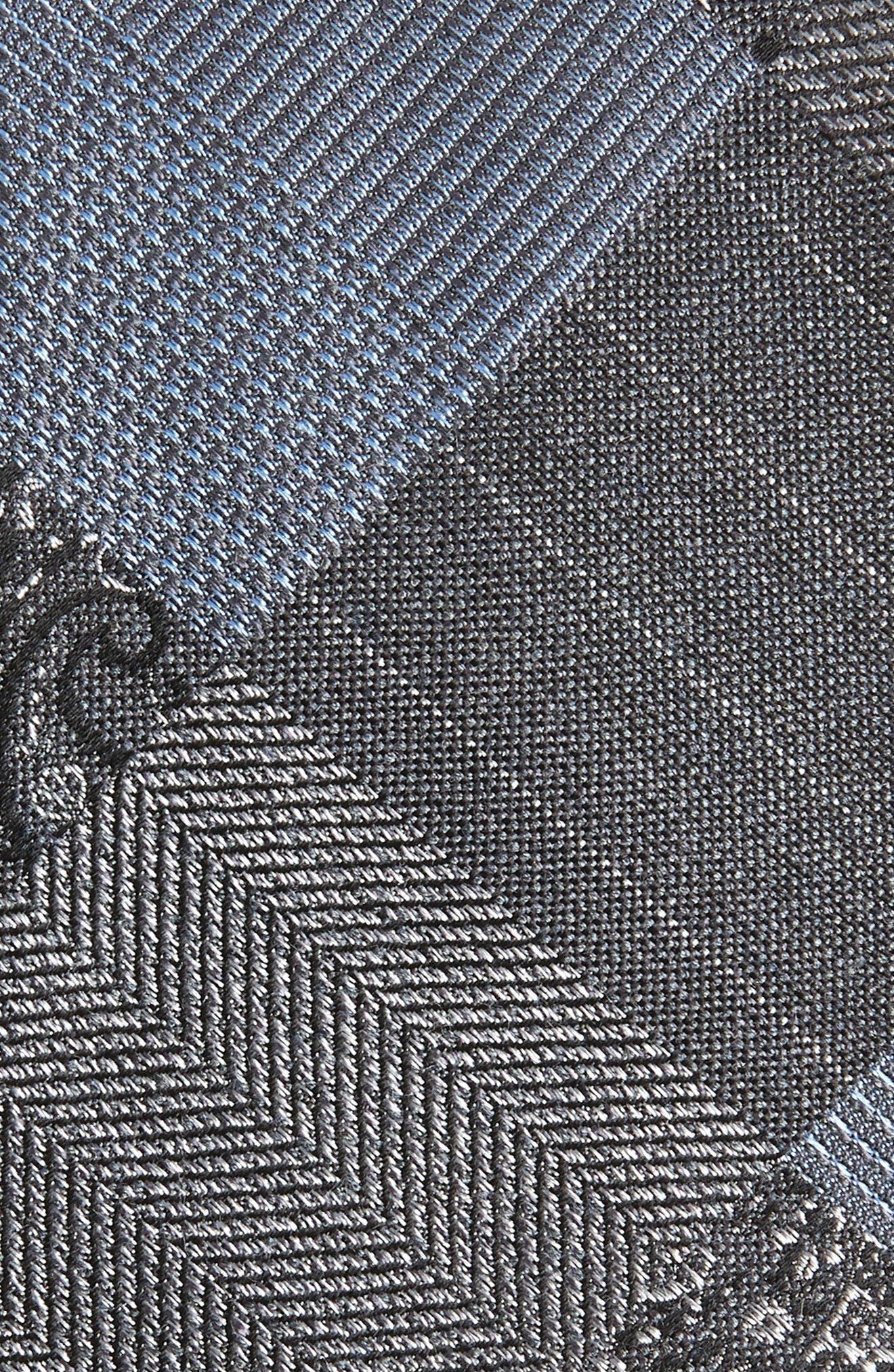 Leveque Check Silk Blend Tie,                             Alternate thumbnail 2, color,                             BLACK