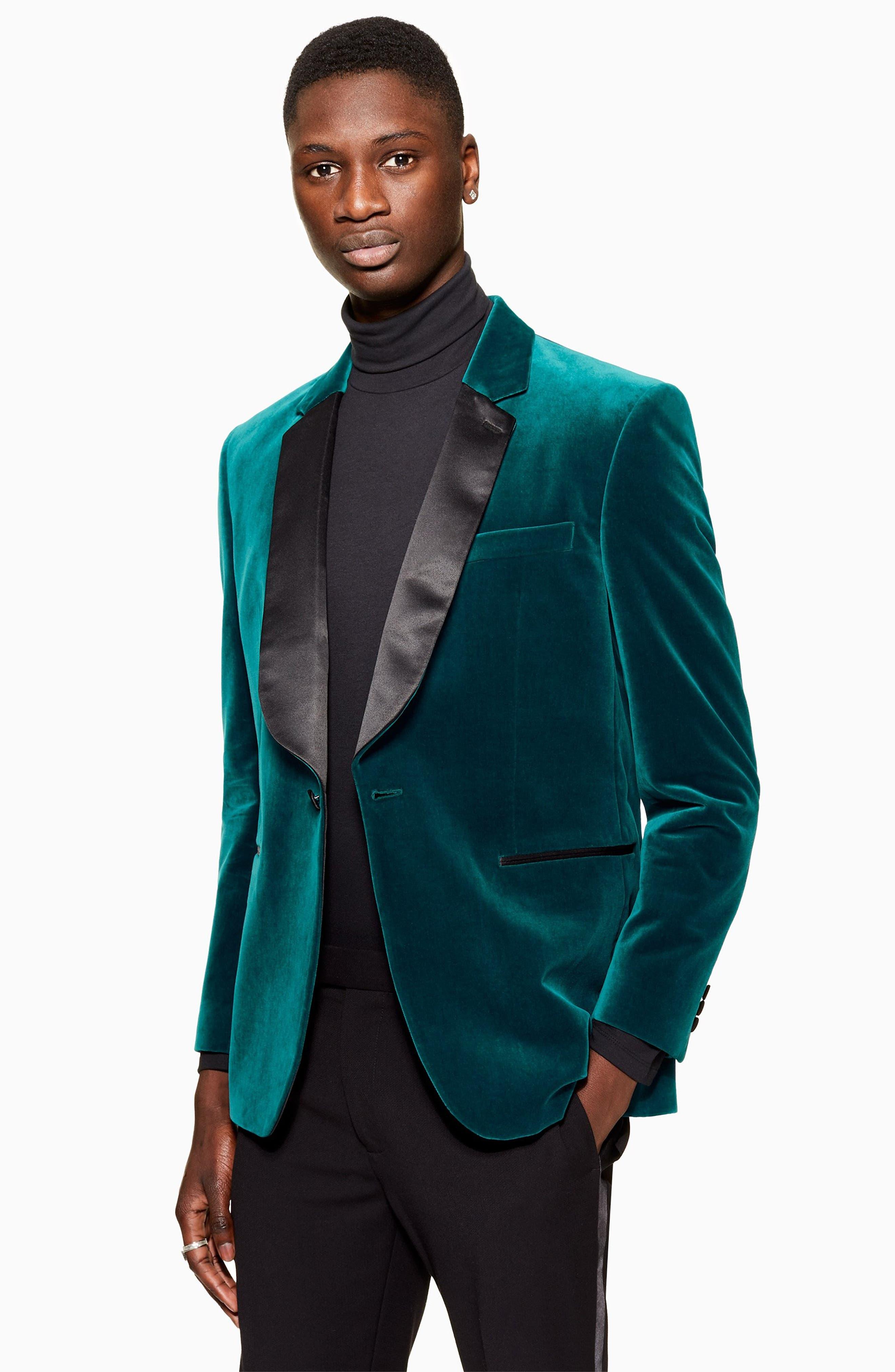 TOPMAN,                             Casely Hayford Skinny Fit Velvet Blazer,                             Alternate thumbnail 4, color,                             BLUE MULTI