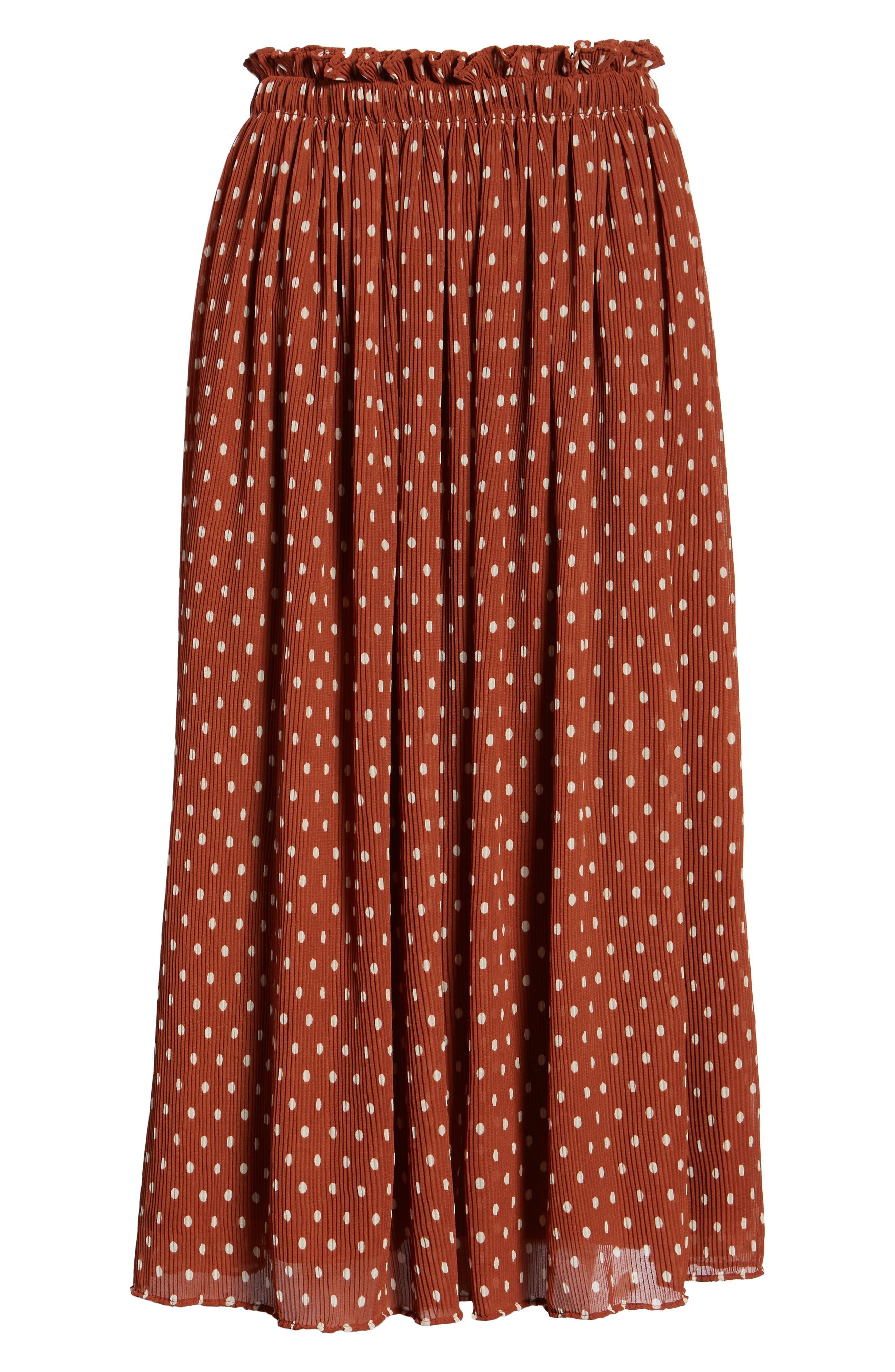 x Atlantic-Pacific Crinkle Midi Skirt,                             Alternate thumbnail 7, color,                             RUST SPACED DOT
