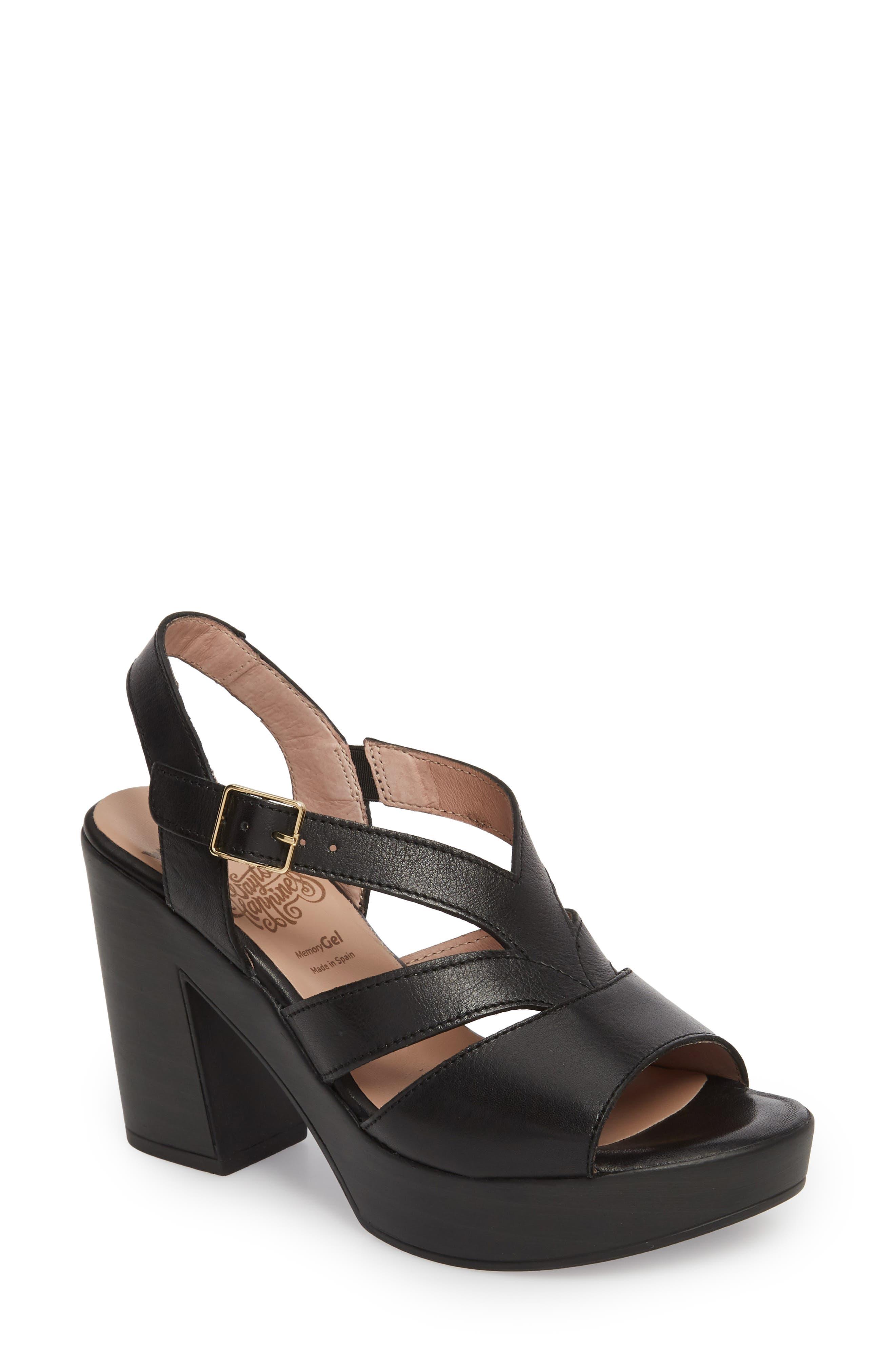 V-Strap Platform Sandal,                         Main,                         color, BLACK LEATHER