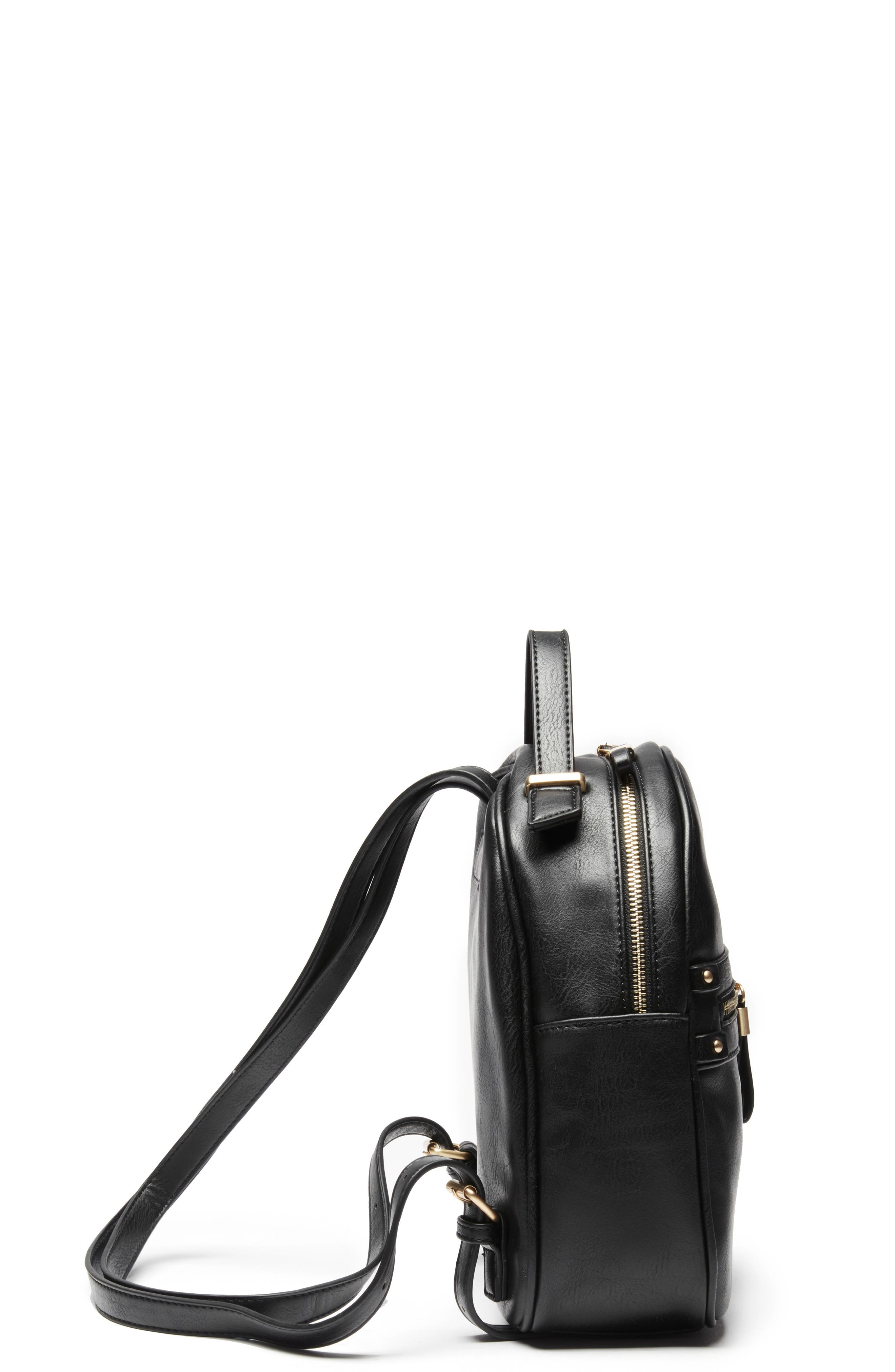 Zypa Faux Leather Backpack,                             Alternate thumbnail 5, color,                             BLACK