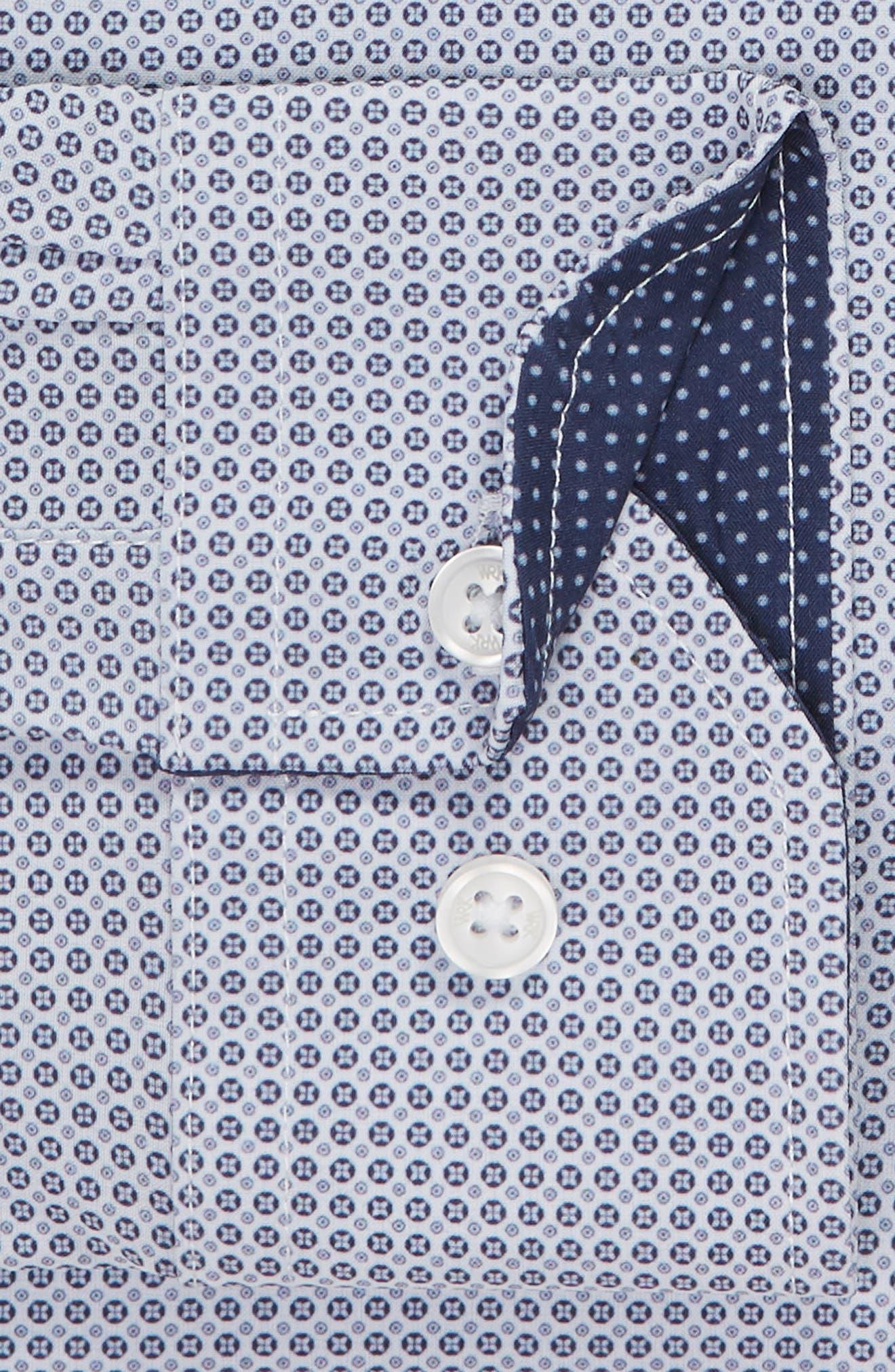 Trim Fit 4-Way Stretch Geometric Dress Shirt,                             Alternate thumbnail 6, color,                             400