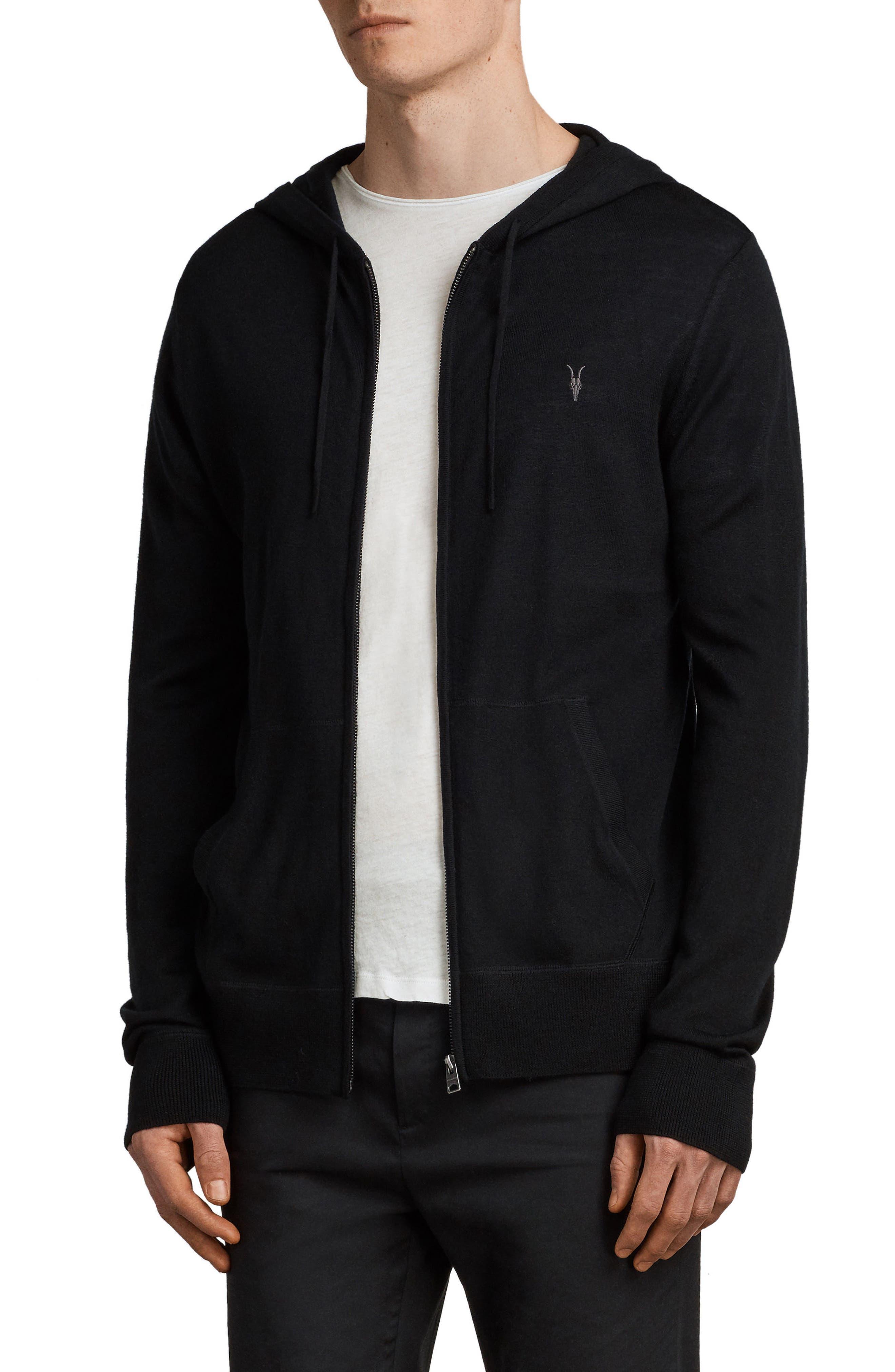 Mode Slim Fit Merino Wool Zip Hoodie,                             Alternate thumbnail 3, color,                             BLACK