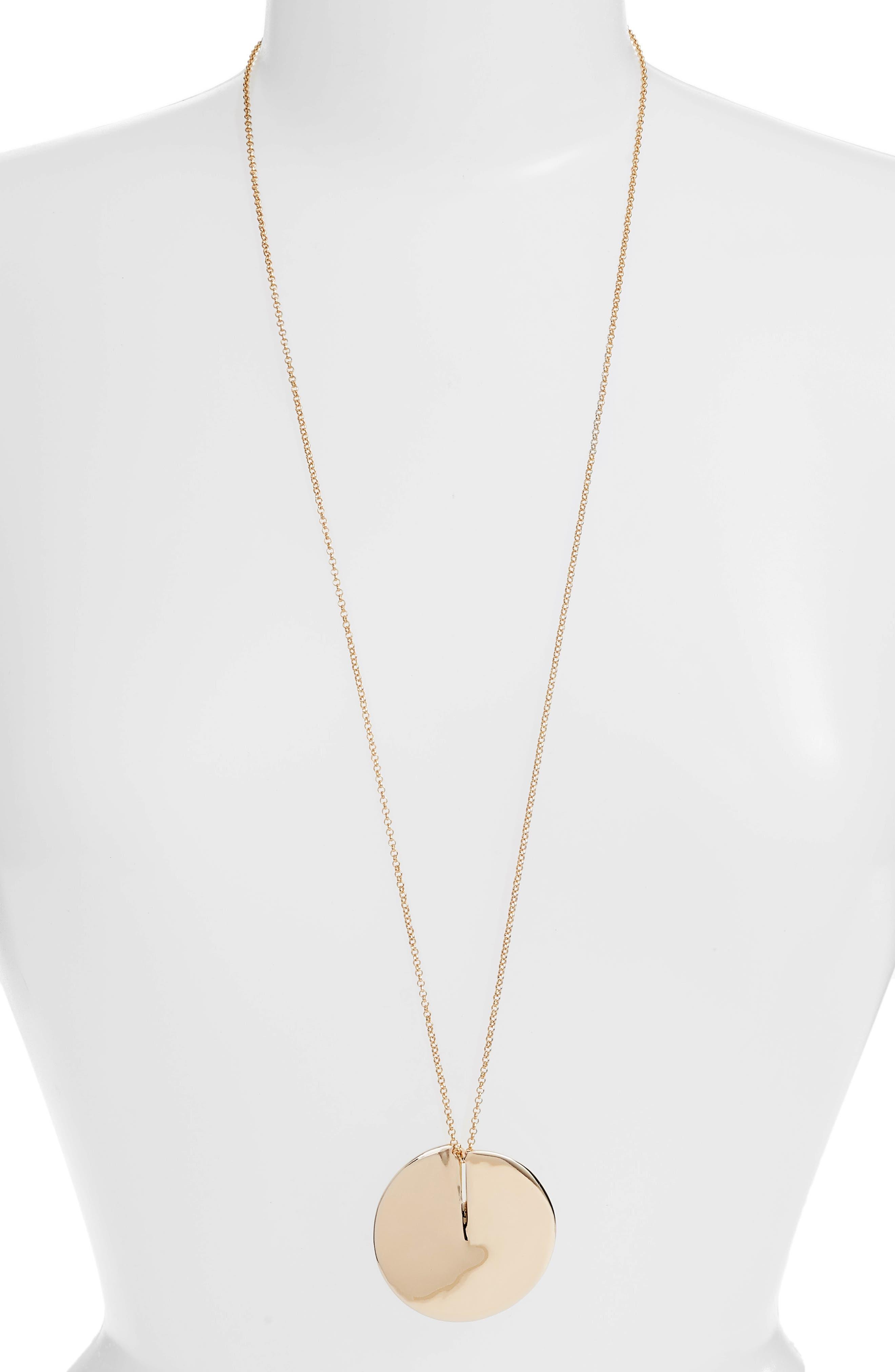 Long Disc Necklace,                         Main,                         color, GOLD