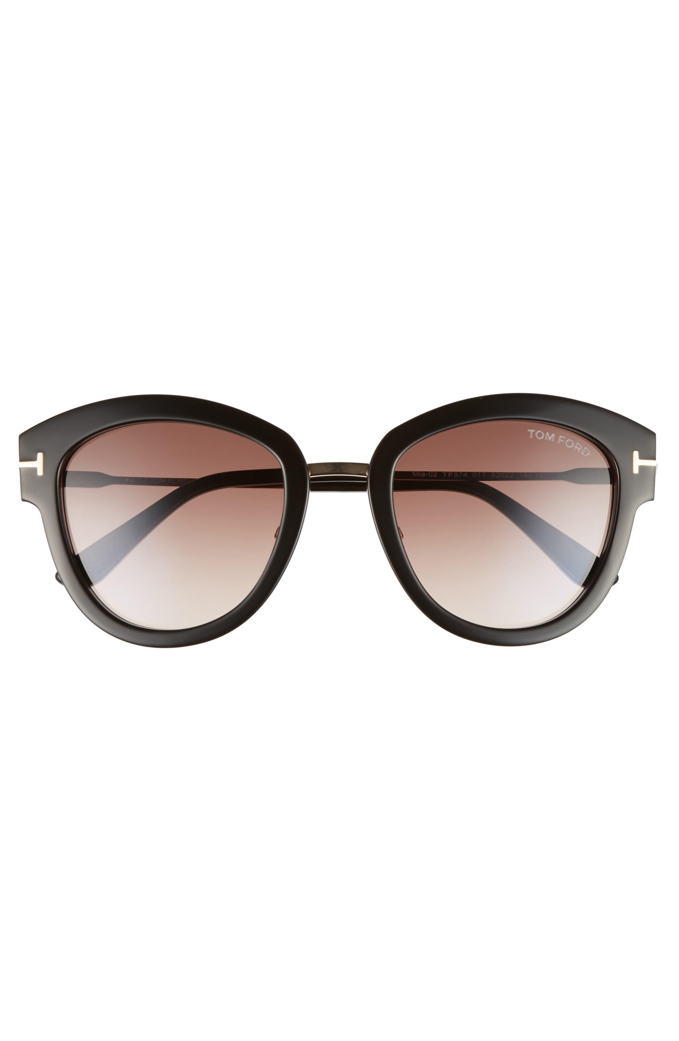 Mia 55mm Cat Eye Sunglasses,                             Alternate thumbnail 3, color,                             BLACK ACETATE/ ROSE GOLD