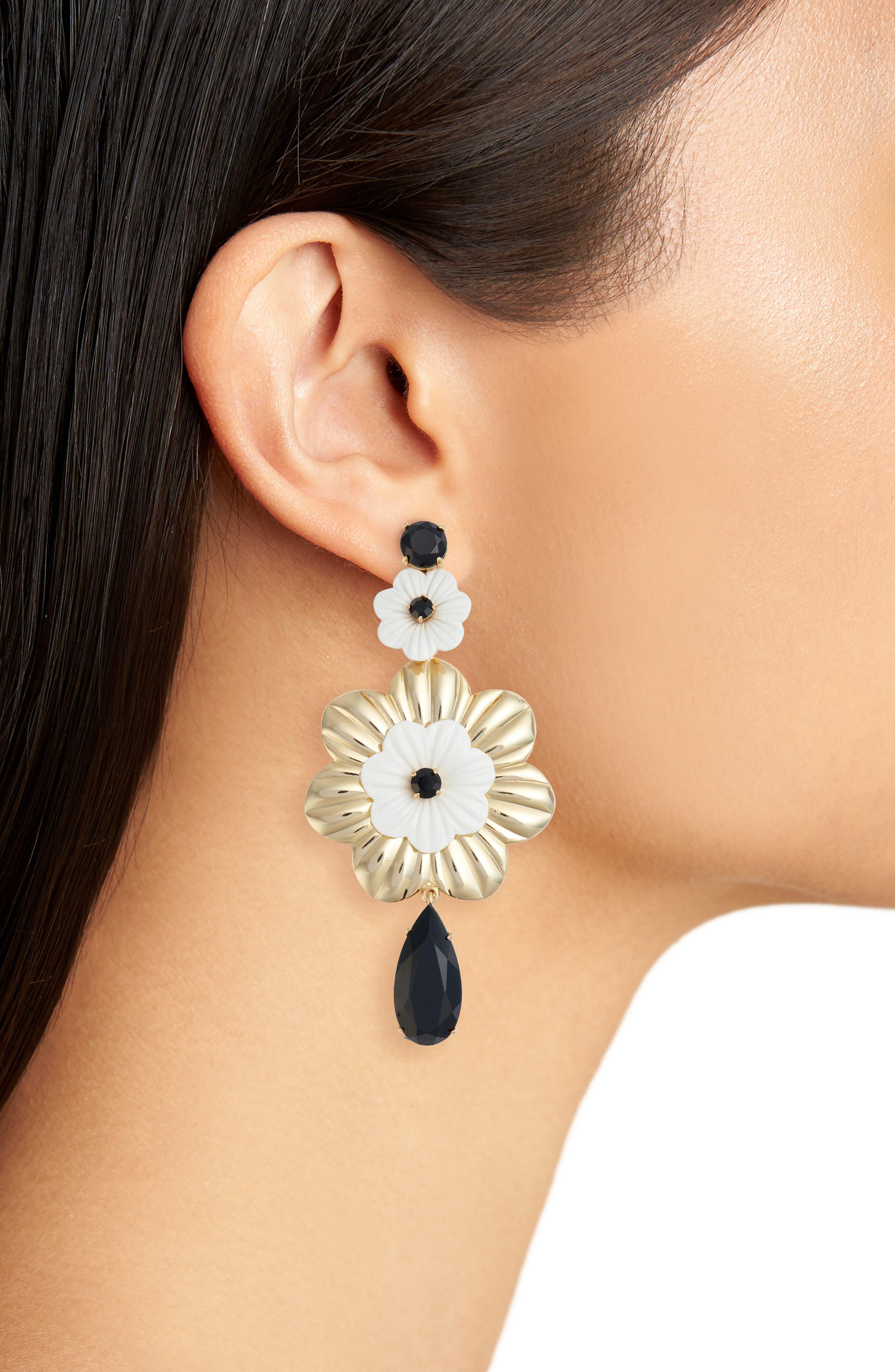 posy grove statement earrings,                             Alternate thumbnail 2, color,