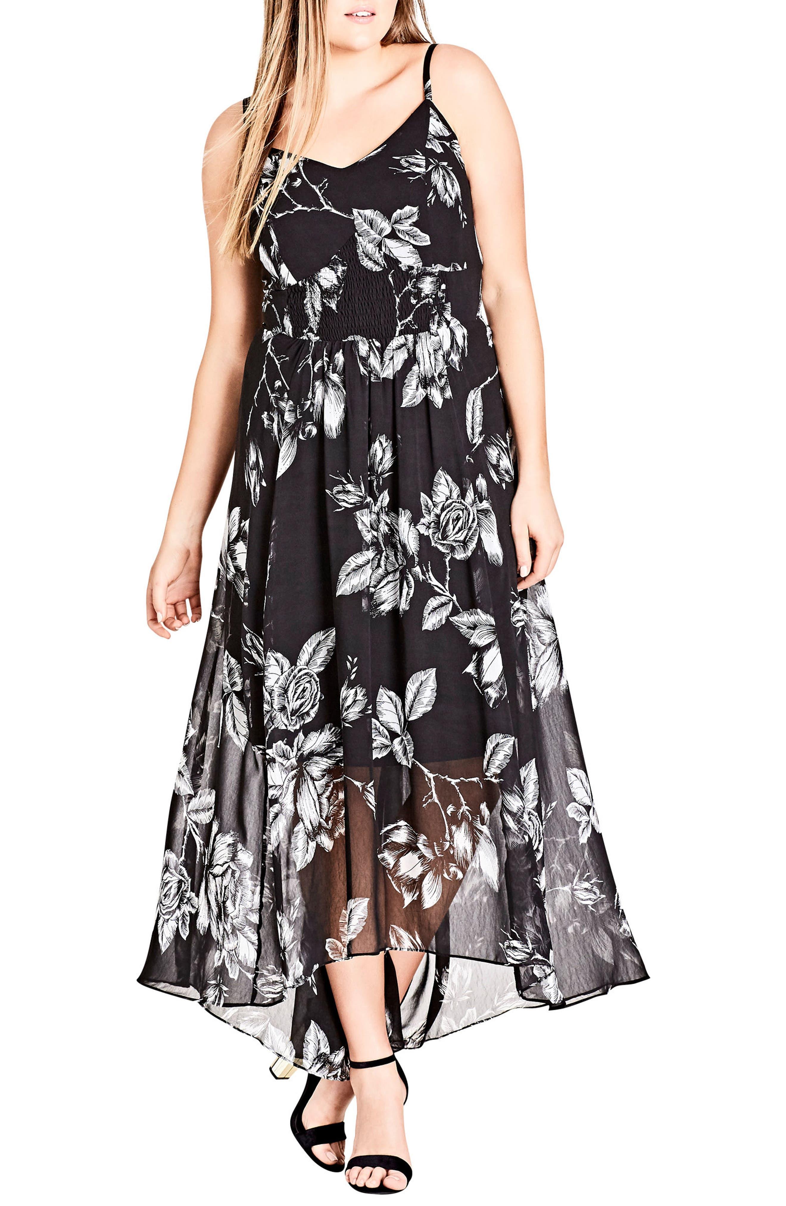 CITY CHIC,                             Mono Rose Maxi Dress,                             Alternate thumbnail 6, color,                             MONO ROSE