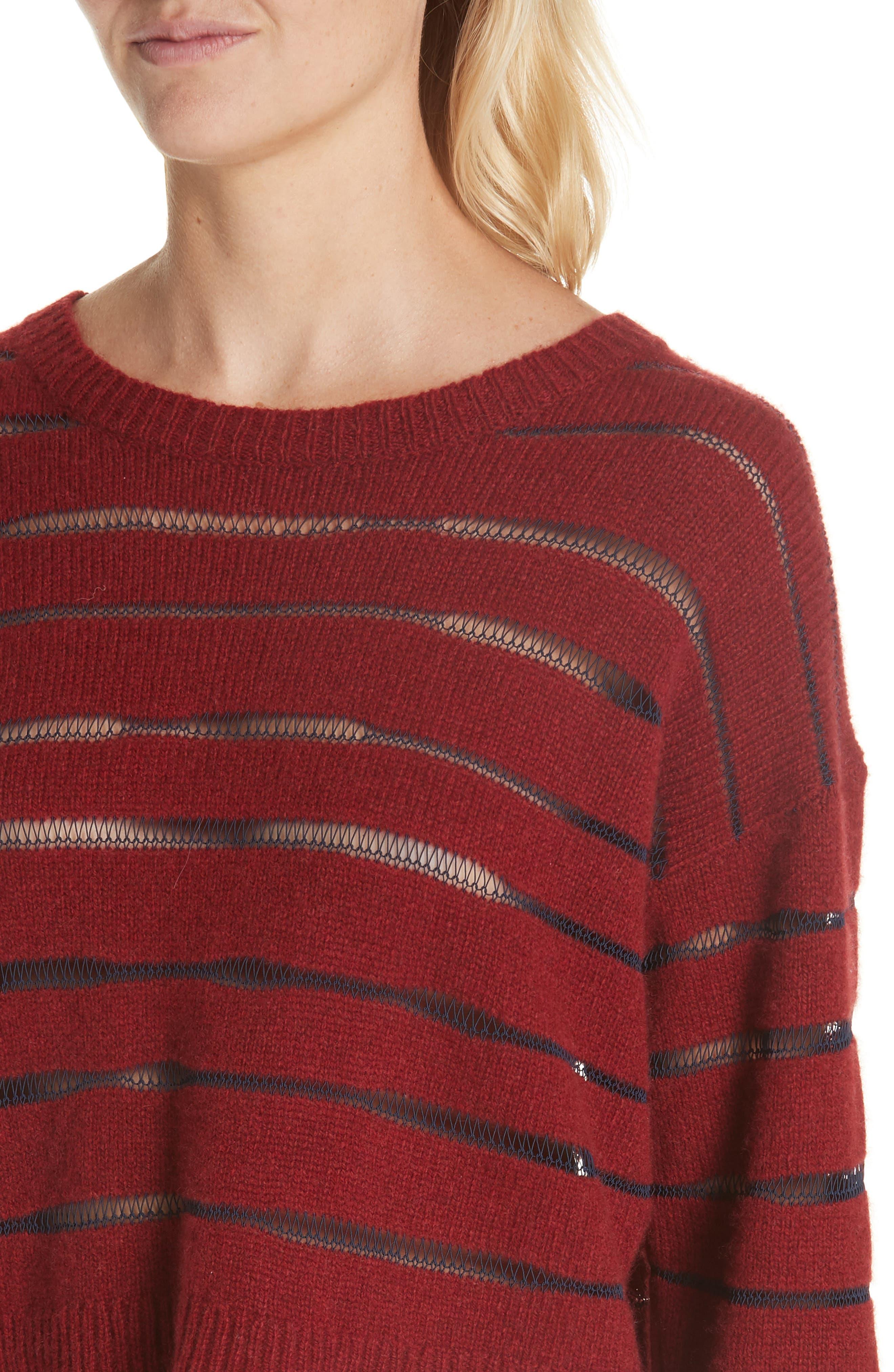 Penn Sheer Stripe Crop Sweater,                             Alternate thumbnail 4, color,                             068