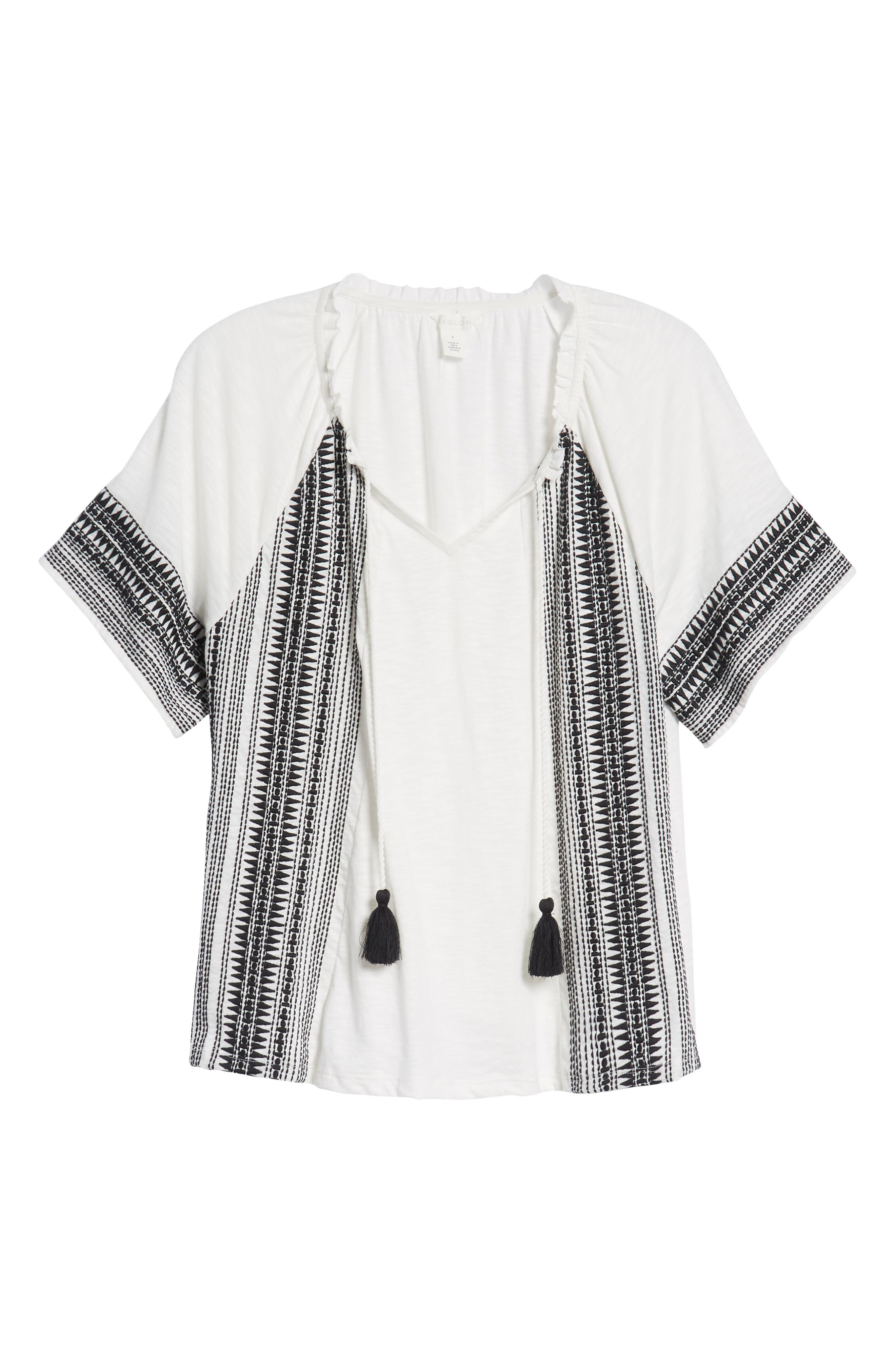 Embroidered Border Peasant Top,                             Alternate thumbnail 18, color,