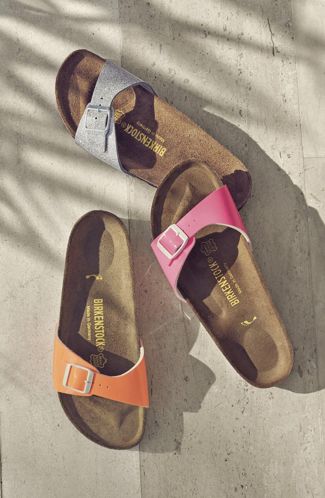 'Madrid' Birko-Flor<sup>™</sup> Sandal,                             Alternate thumbnail 5, color,                             BLACK FAUX LEATHER