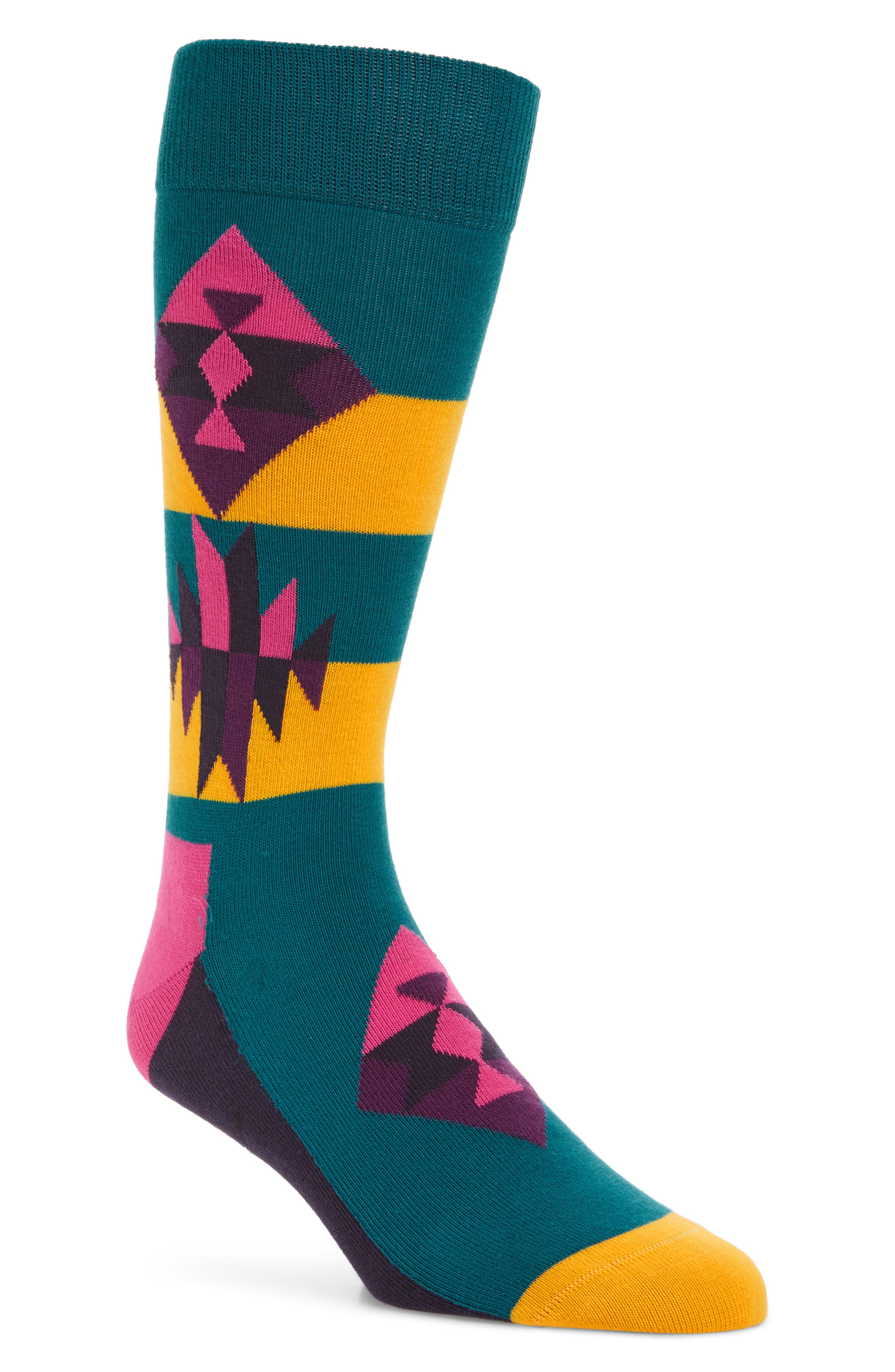 Inca Pattern Socks,                             Main thumbnail 1, color,