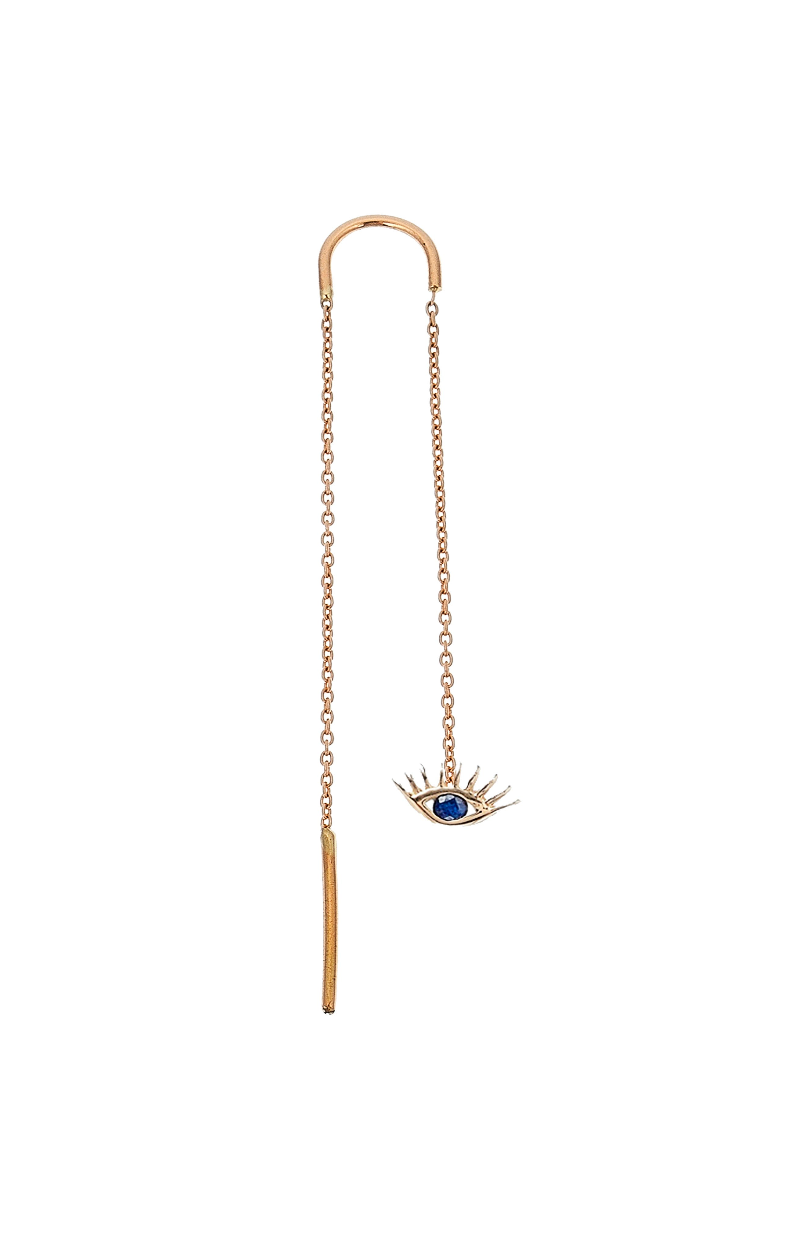 Sapphire Threader Earring,                         Main,                         color, ROSE GOLD