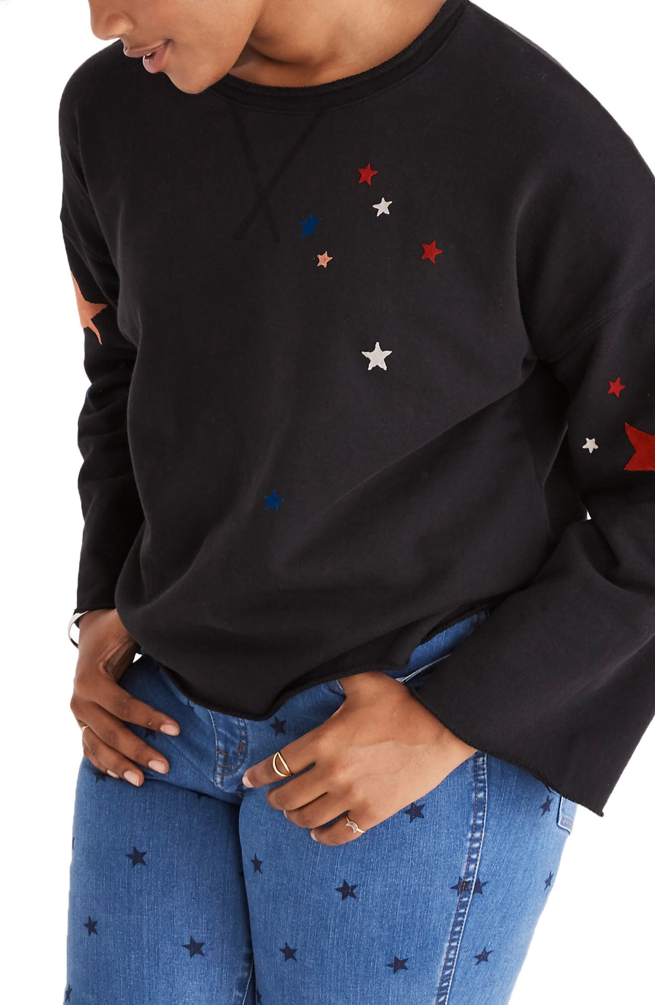 Starry Night Sweatshirt,                             Alternate thumbnail 2, color,                             CLASSIC BLACK