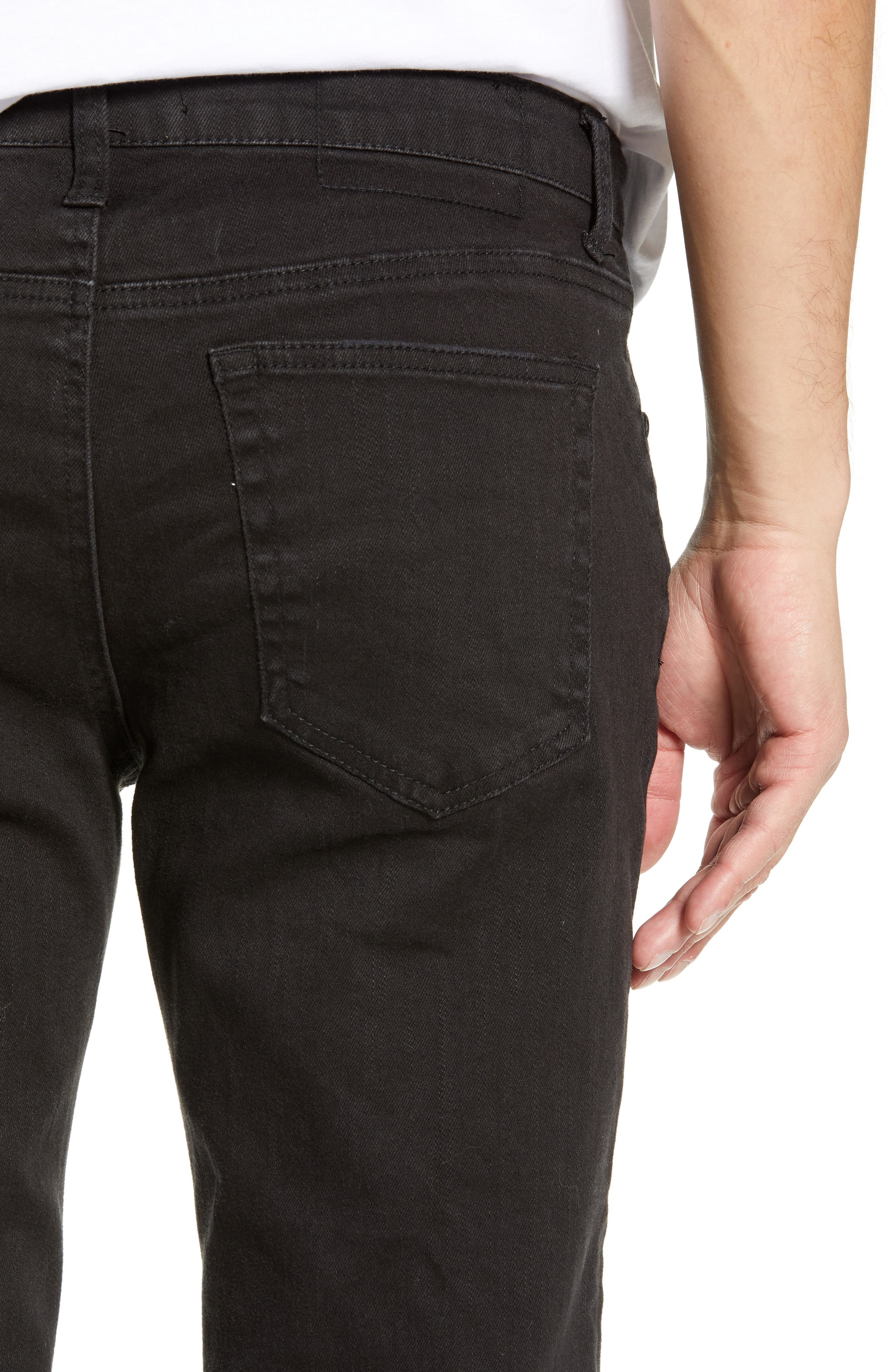 Shredded Slim Fit Jeans,                             Alternate thumbnail 4, color,                             BLACK STONE WASH