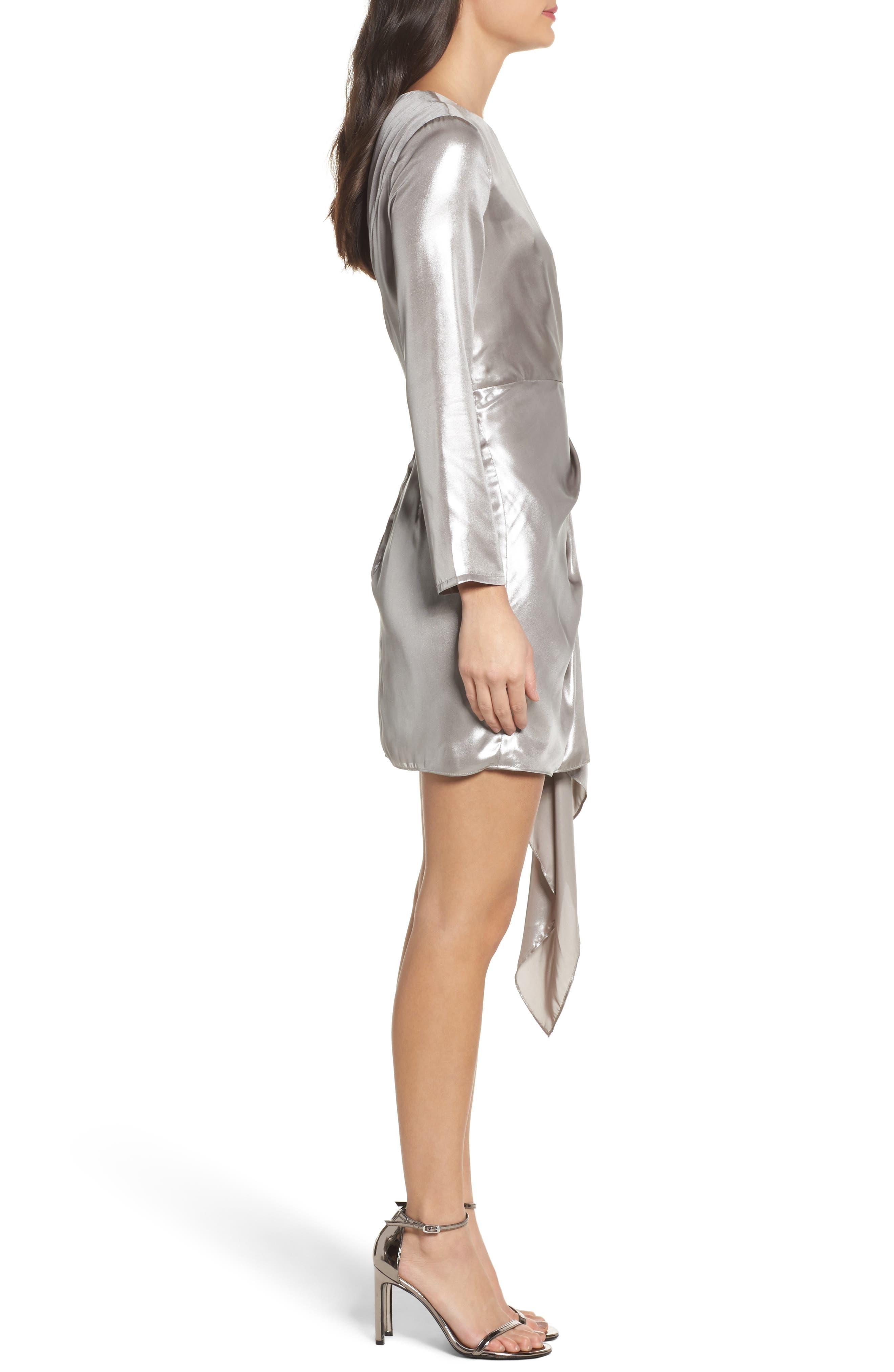 Shimmer Drape Front Dress,                             Alternate thumbnail 3, color,