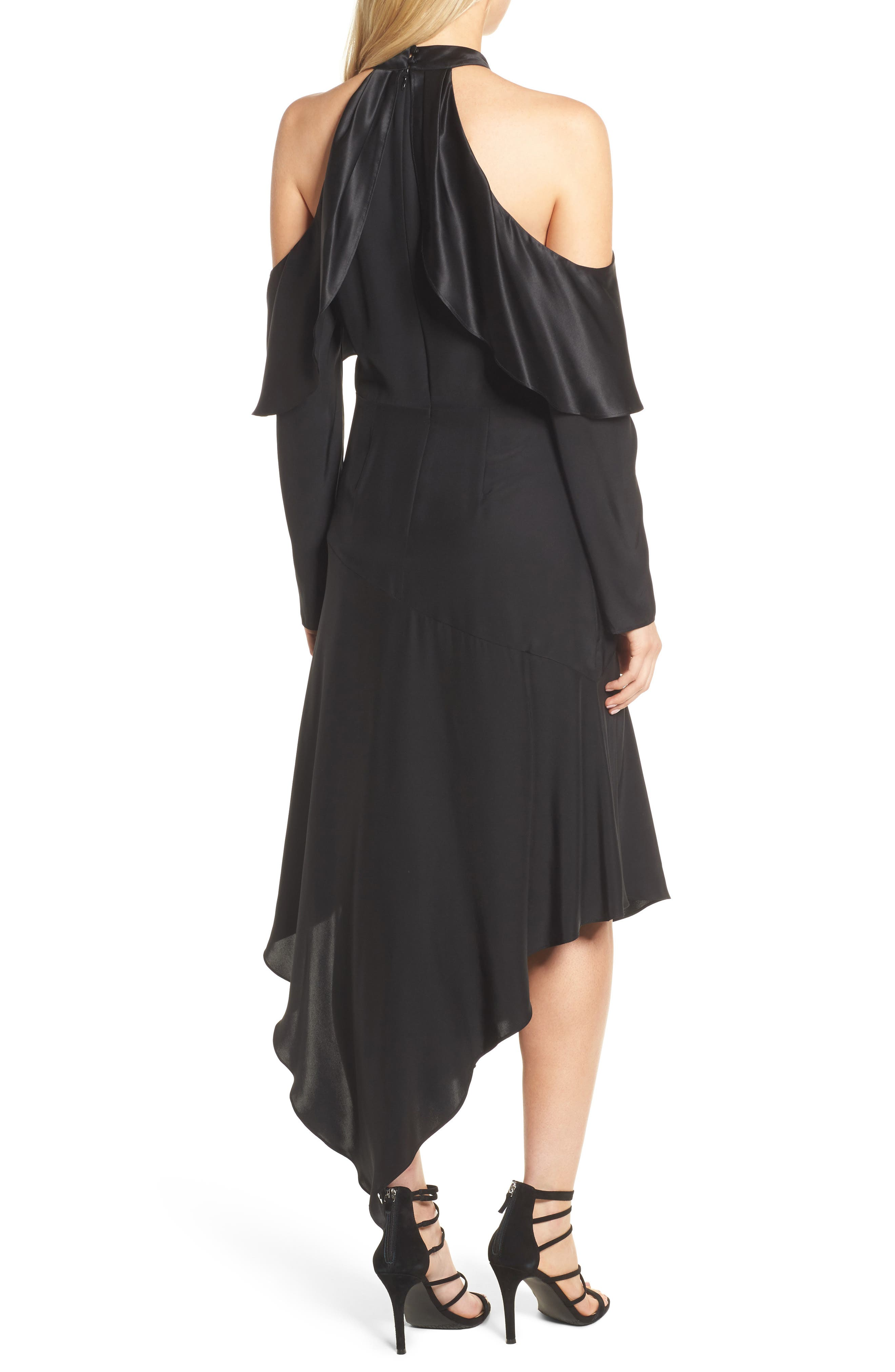 Tanya Cold Shoulder Silk Dress,                             Alternate thumbnail 2, color,                             001