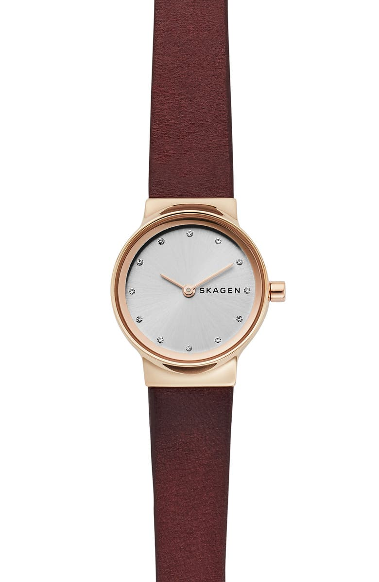 Skagen FREJA CRYSTAL ACCENT LEATHER STRAP WATCH, 26MM