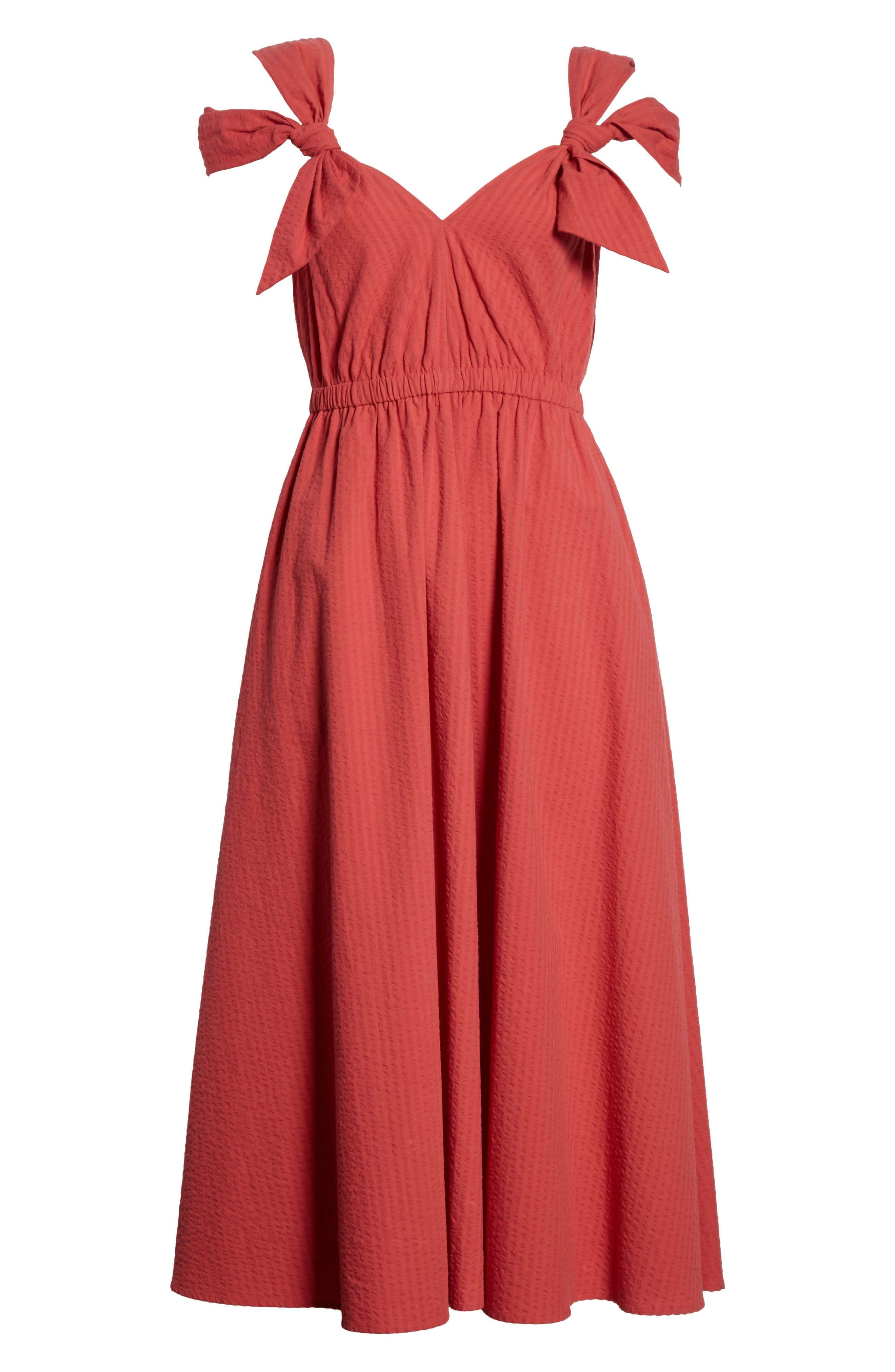 Cold Shoulder Seersucker Dress,                             Alternate thumbnail 6, color,                             612