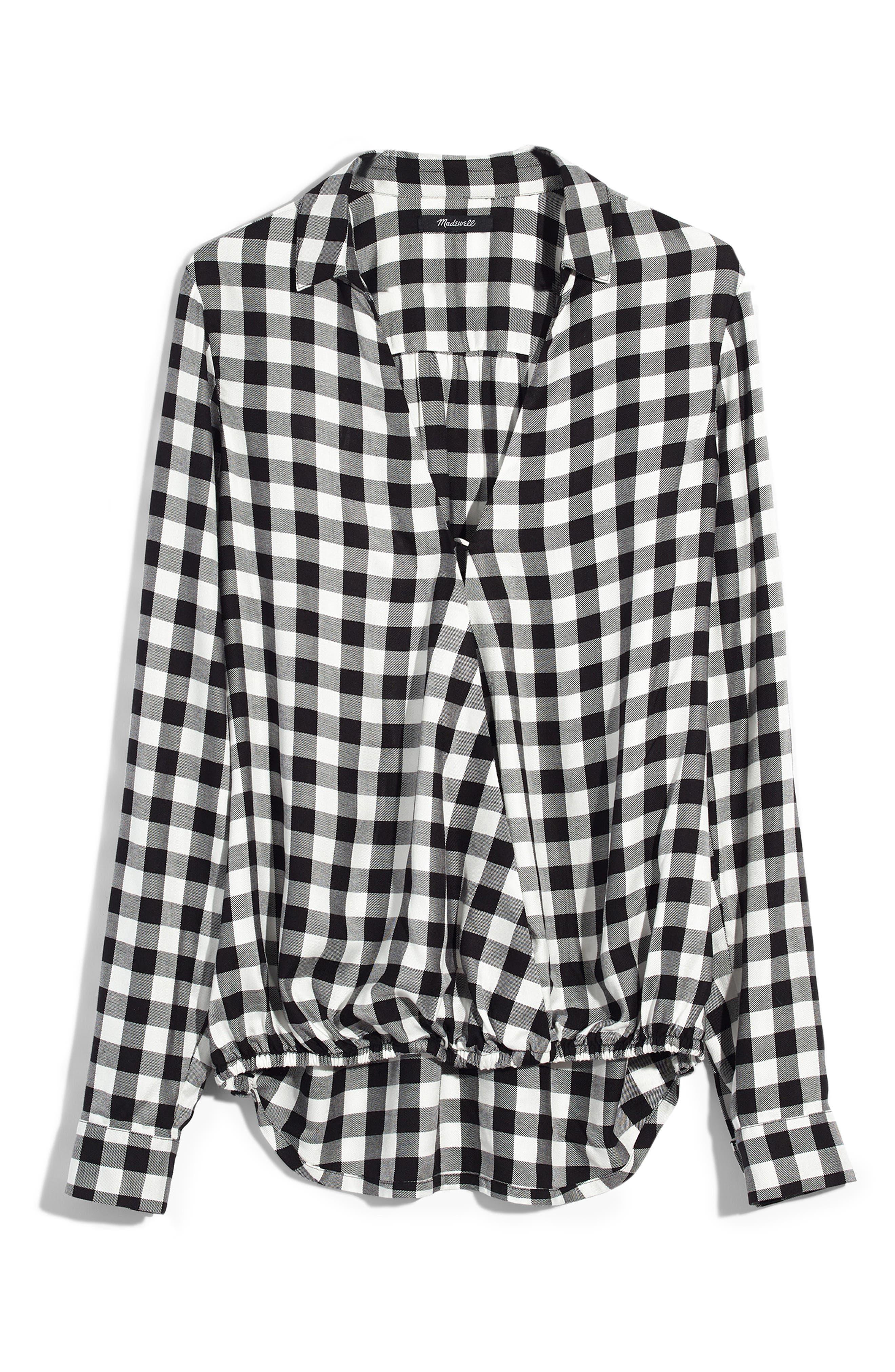 Buffalo Check Wrap Front Shirt,                             Alternate thumbnail 5, color,                             TRUE BLACK