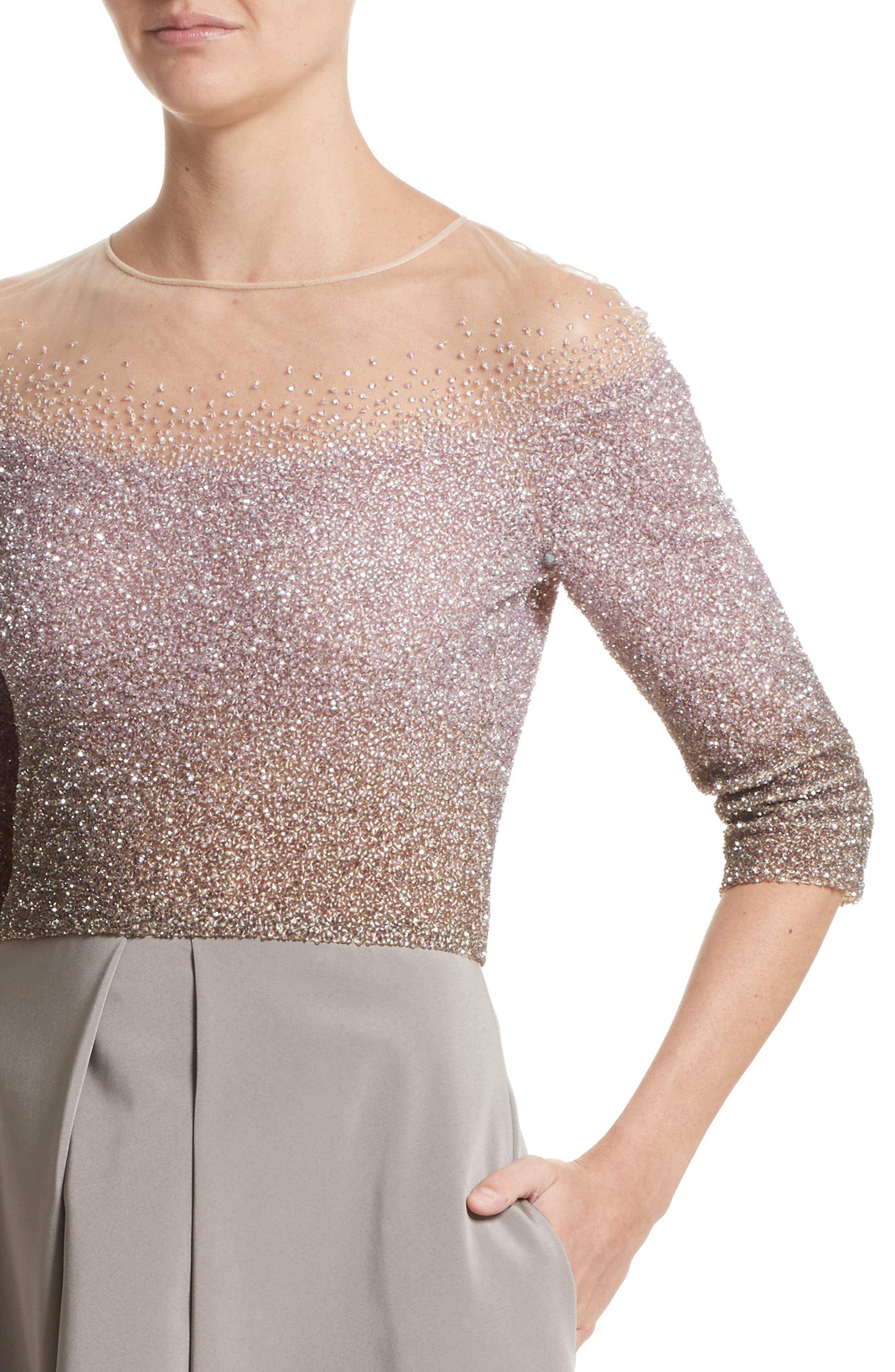 Illusion Sequin & Faille A-Line Gown,                             Alternate thumbnail 4, color,                             244