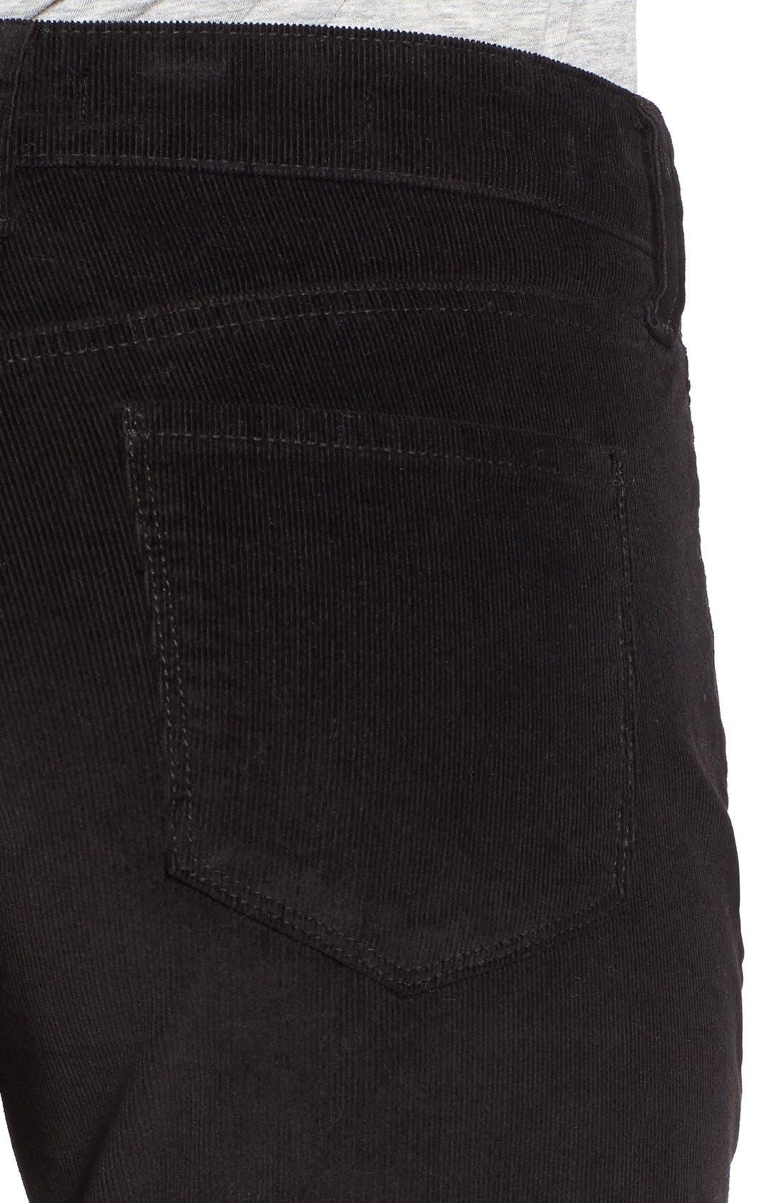 'Alina' Skinny Stretch Corduroy Pants,                             Alternate thumbnail 4, color,                             001