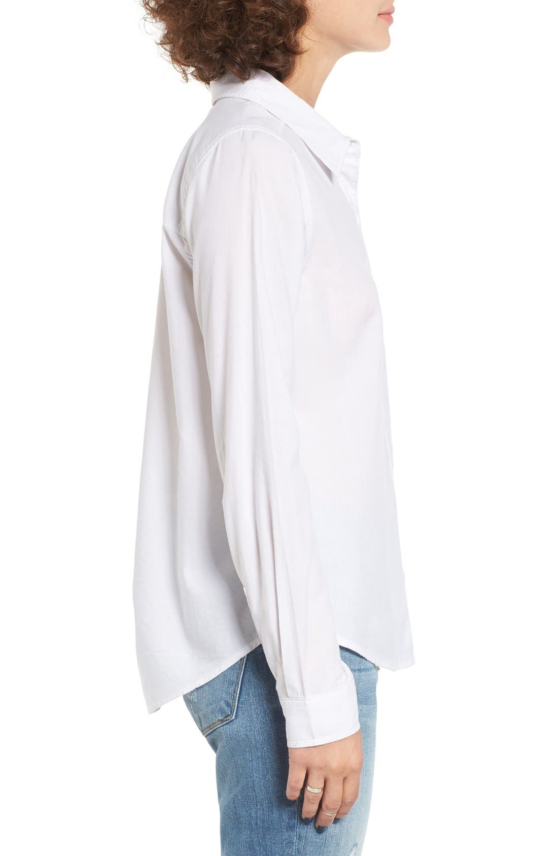 Cotton Blend Button Down Shirt,                             Alternate thumbnail 4, color,                             100