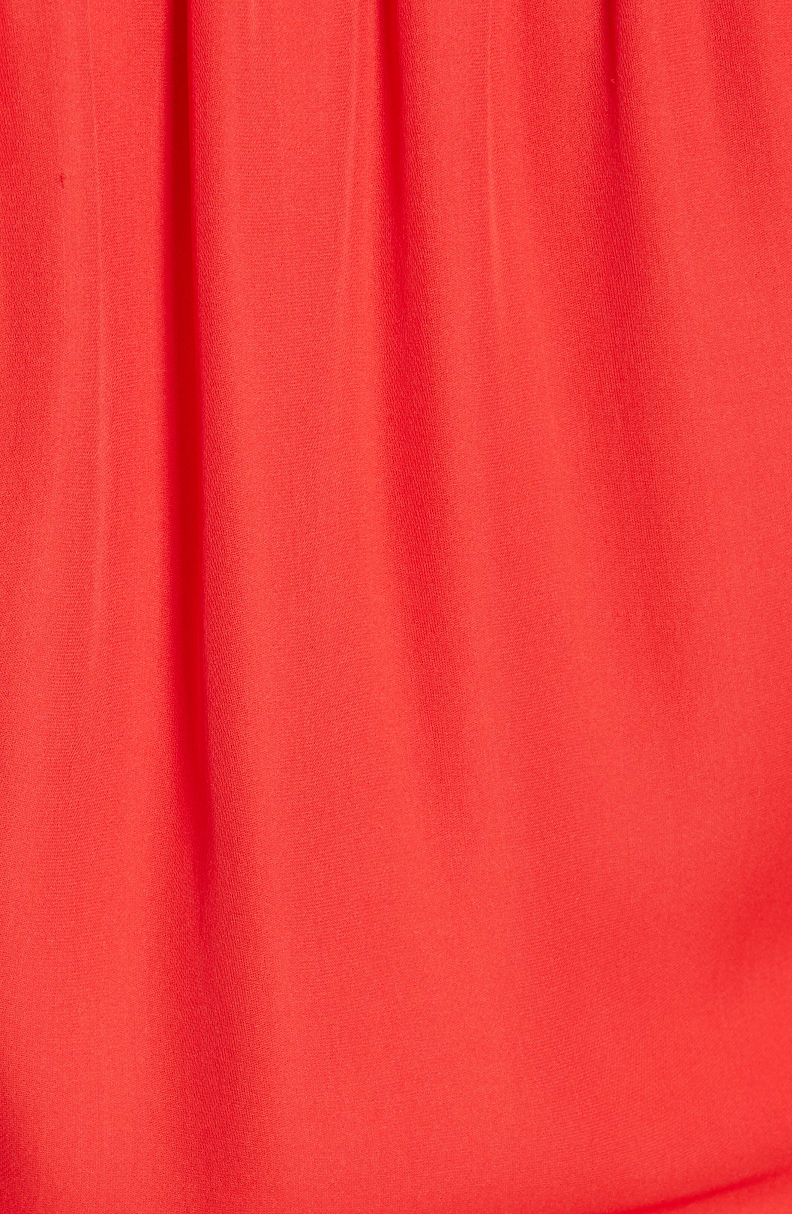 Surplice Silk Blouse,                             Alternate thumbnail 5, color,                             RED TOMATO