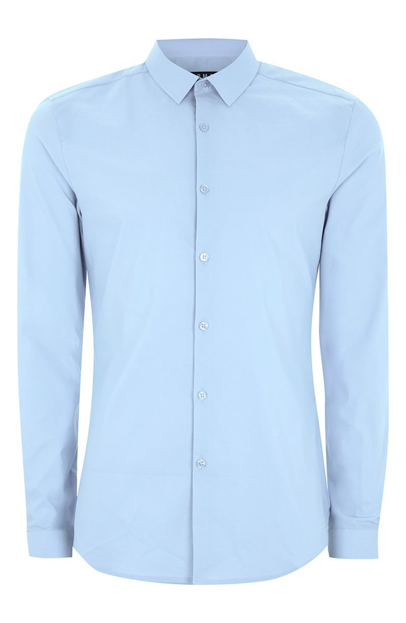 Muscle Fit Dress Shirt,                             Alternate thumbnail 3, color,                             LIGHT BLUE