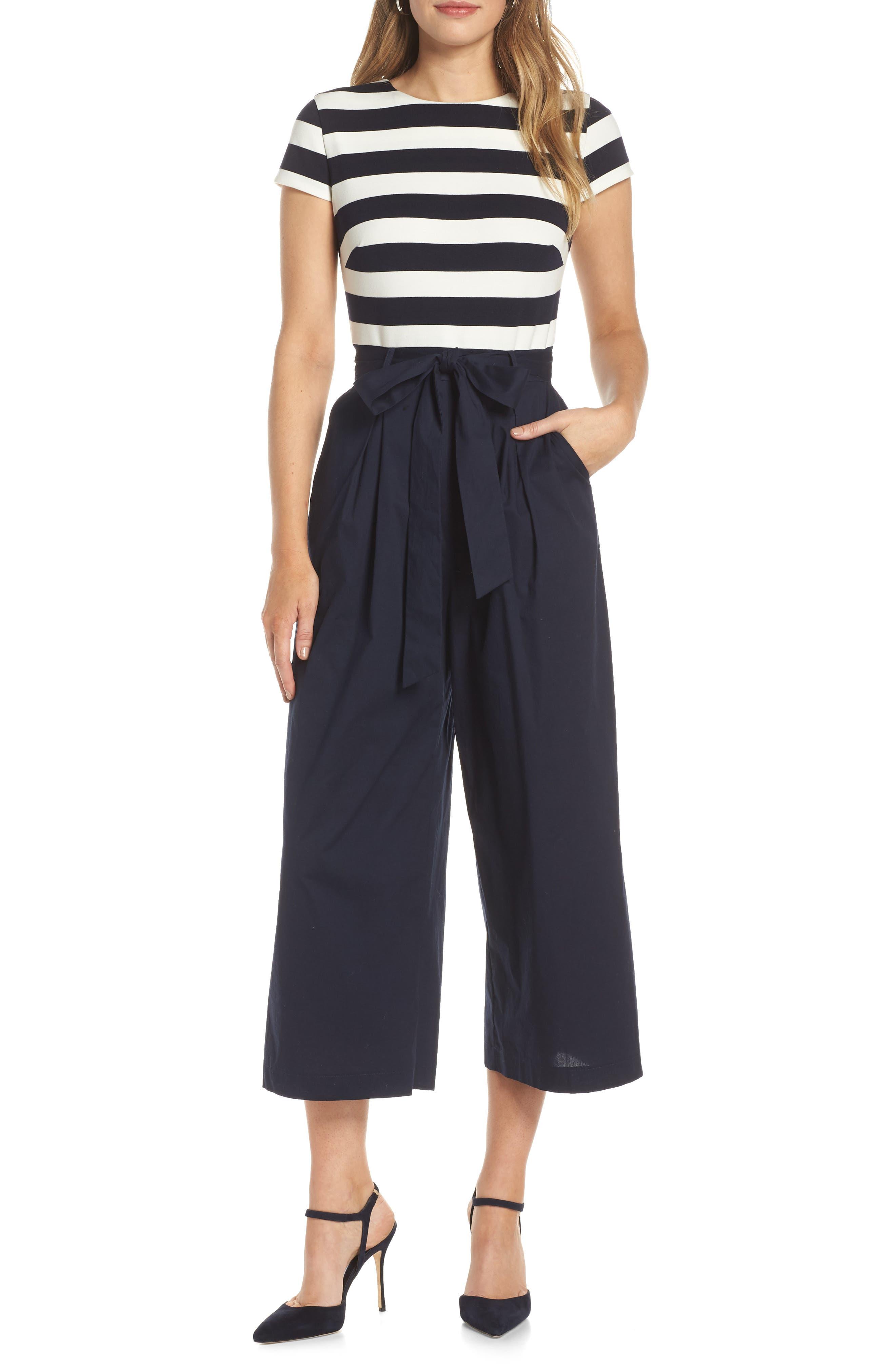 Stripe Ponte Crop Jumpsuit,                             Main thumbnail 1, color,                             BLUE WHITE STRIPE