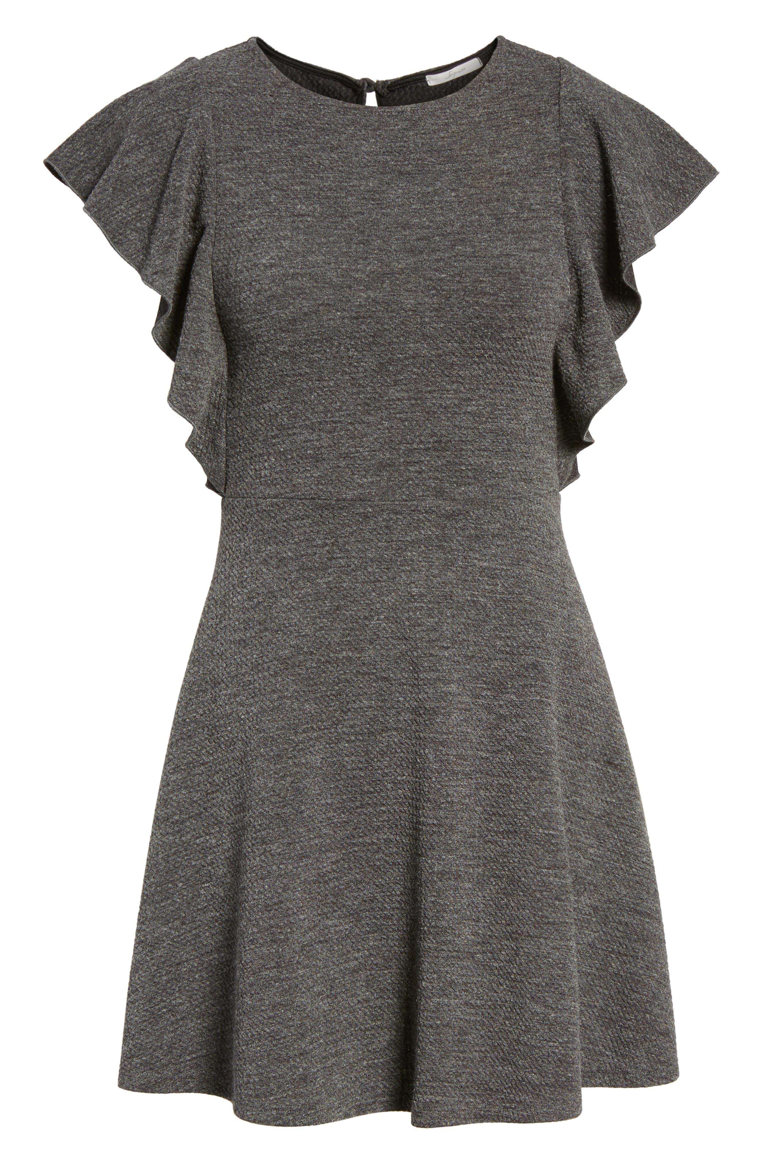 Ruffle Sleeve Knit Minidress,                             Alternate thumbnail 6, color,                             020