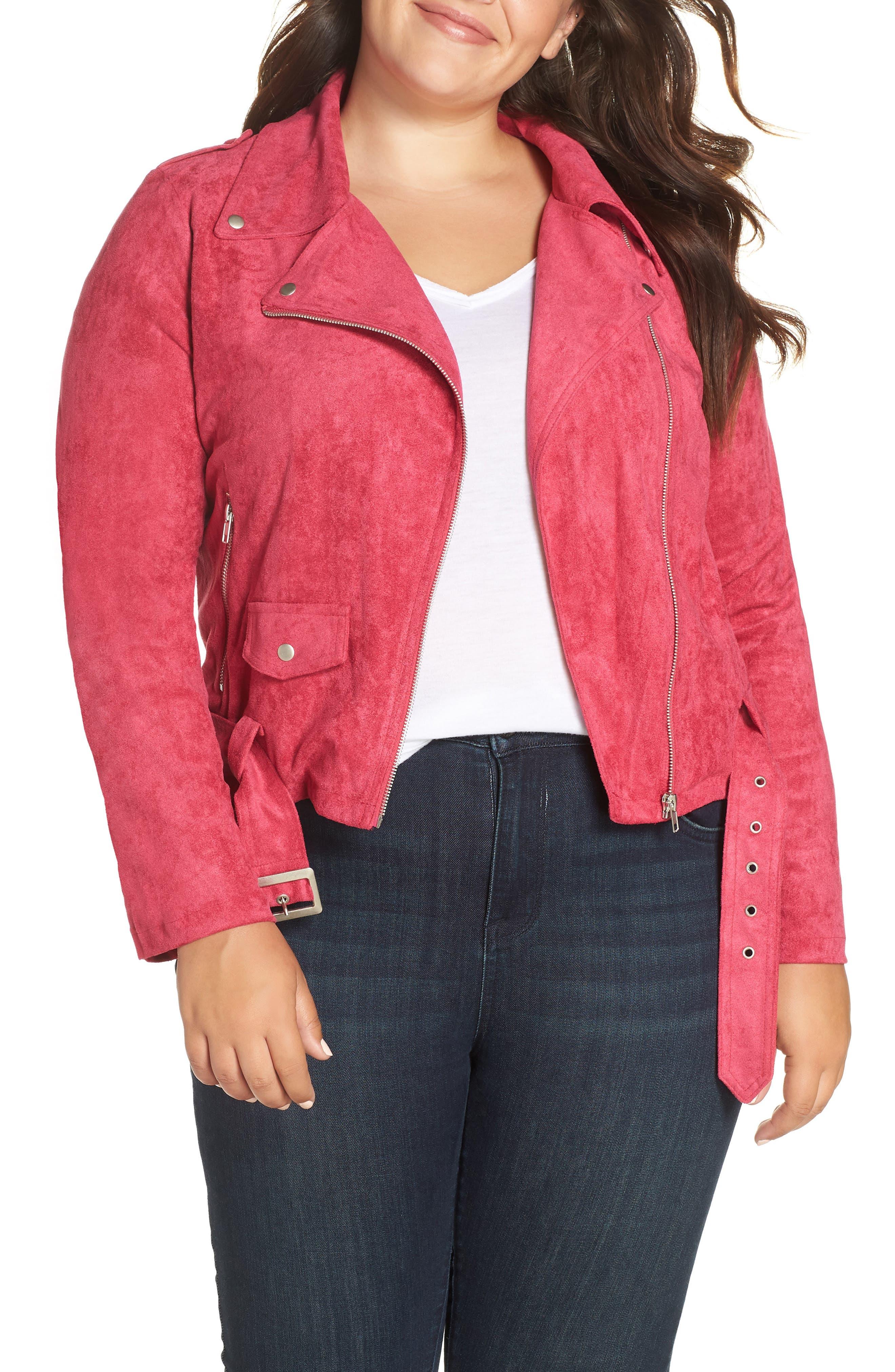 GLAMOROUS Faux Suede Biker Jacket in Hot Pink
