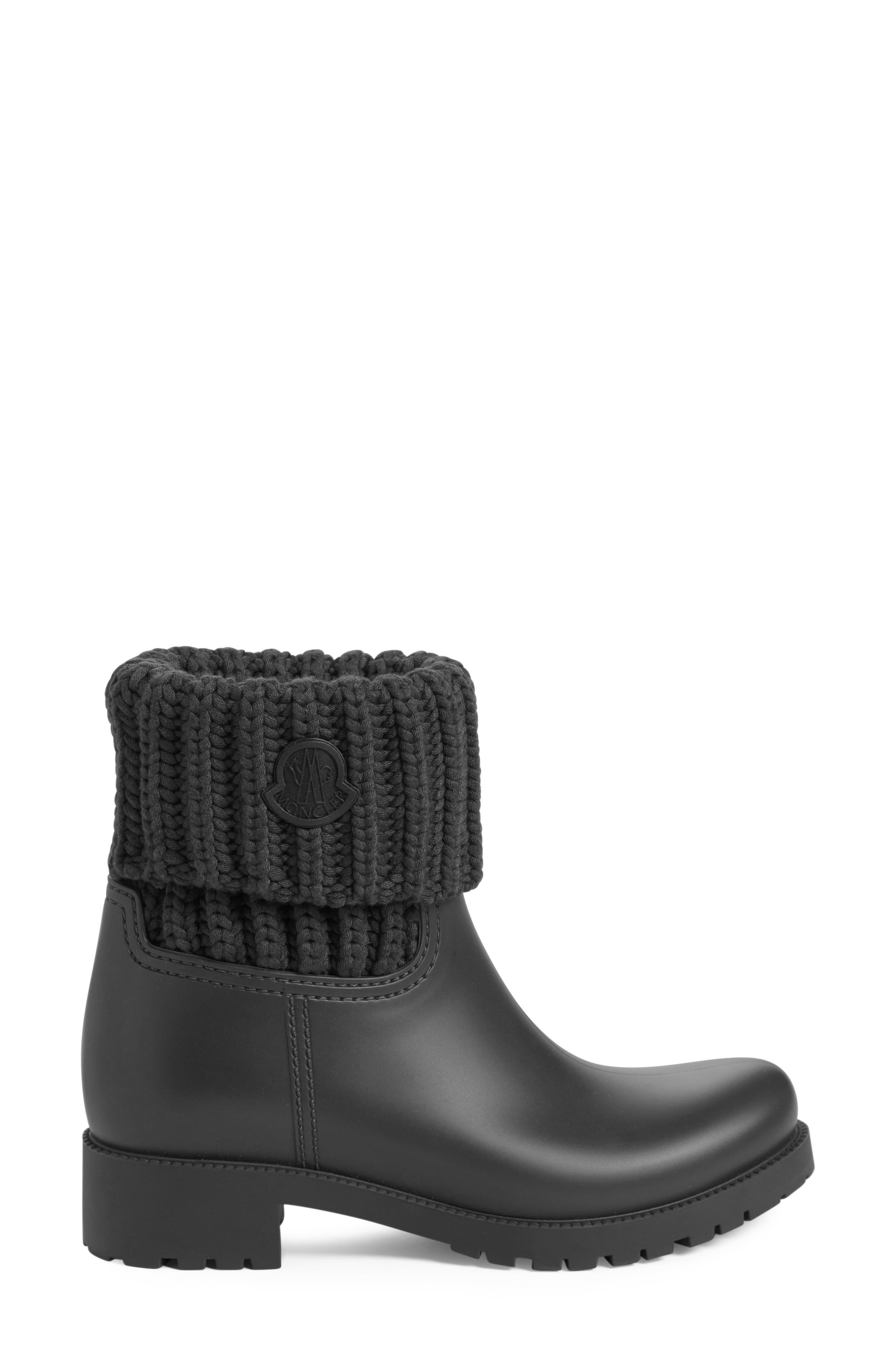 Ginette Knit Cuff Leather Rain Boot,                             Alternate thumbnail 3, color,                             002