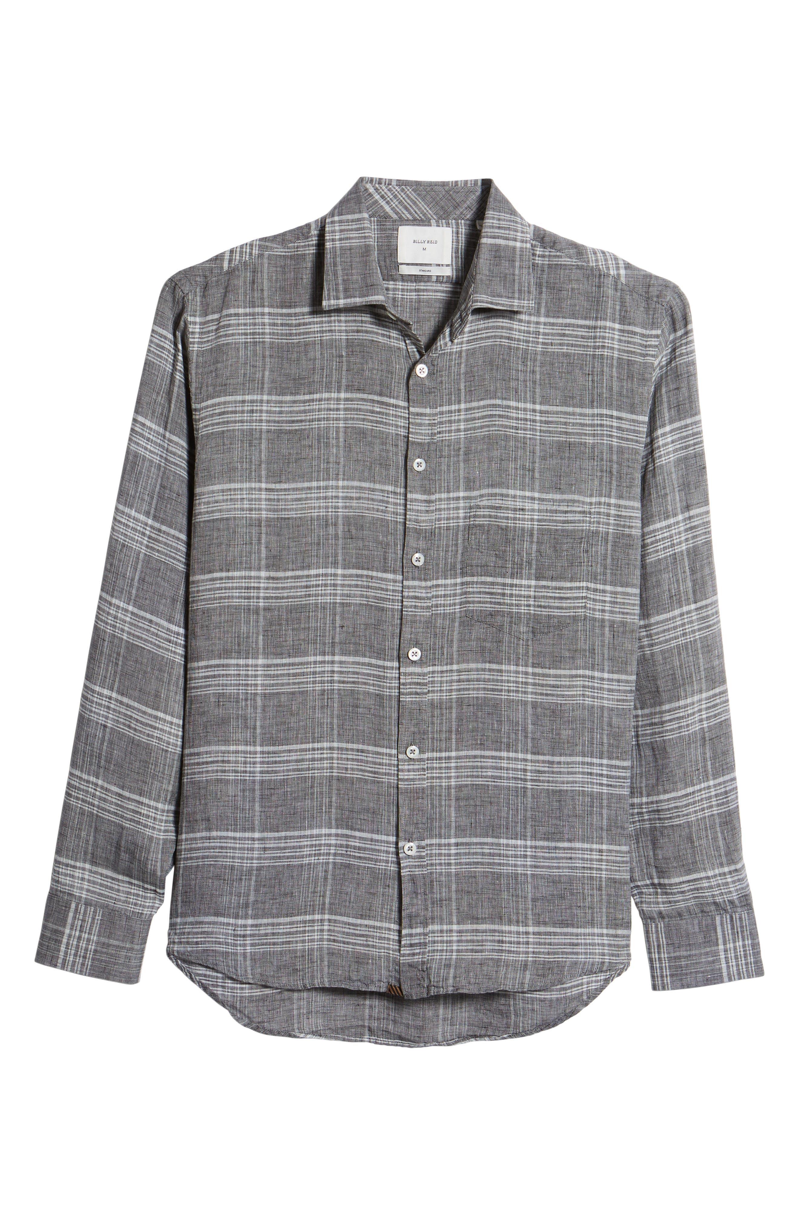 John Standard Fit Plaid Linen Sport Shirt,                             Alternate thumbnail 6, color,                             061