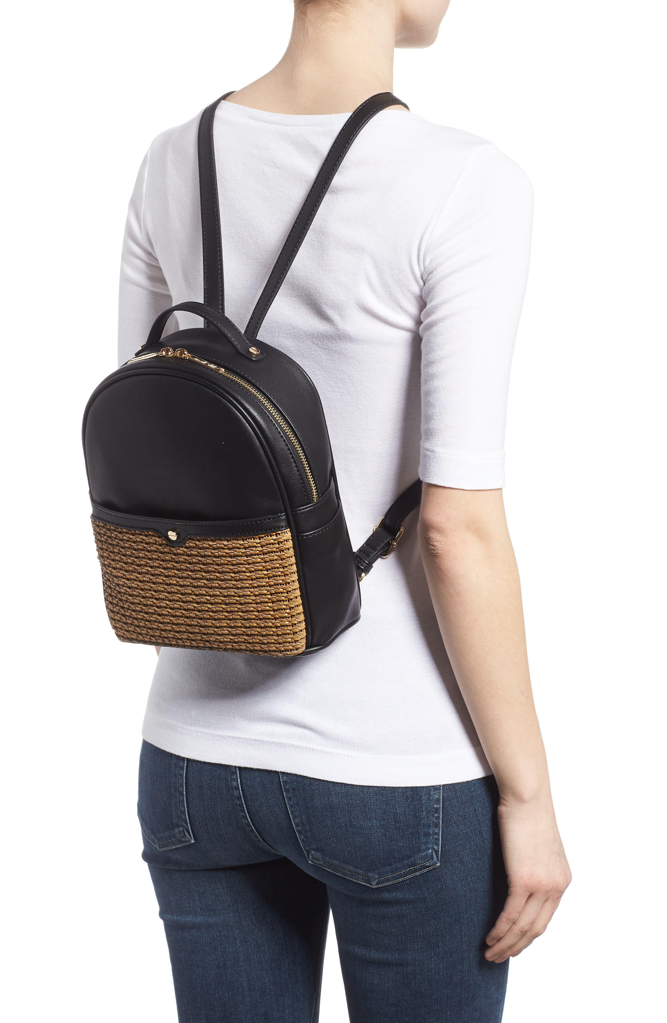 Mali + Lili Harper Lili Basket Weave Backpack,                             Alternate thumbnail 2, color,                             BLACK