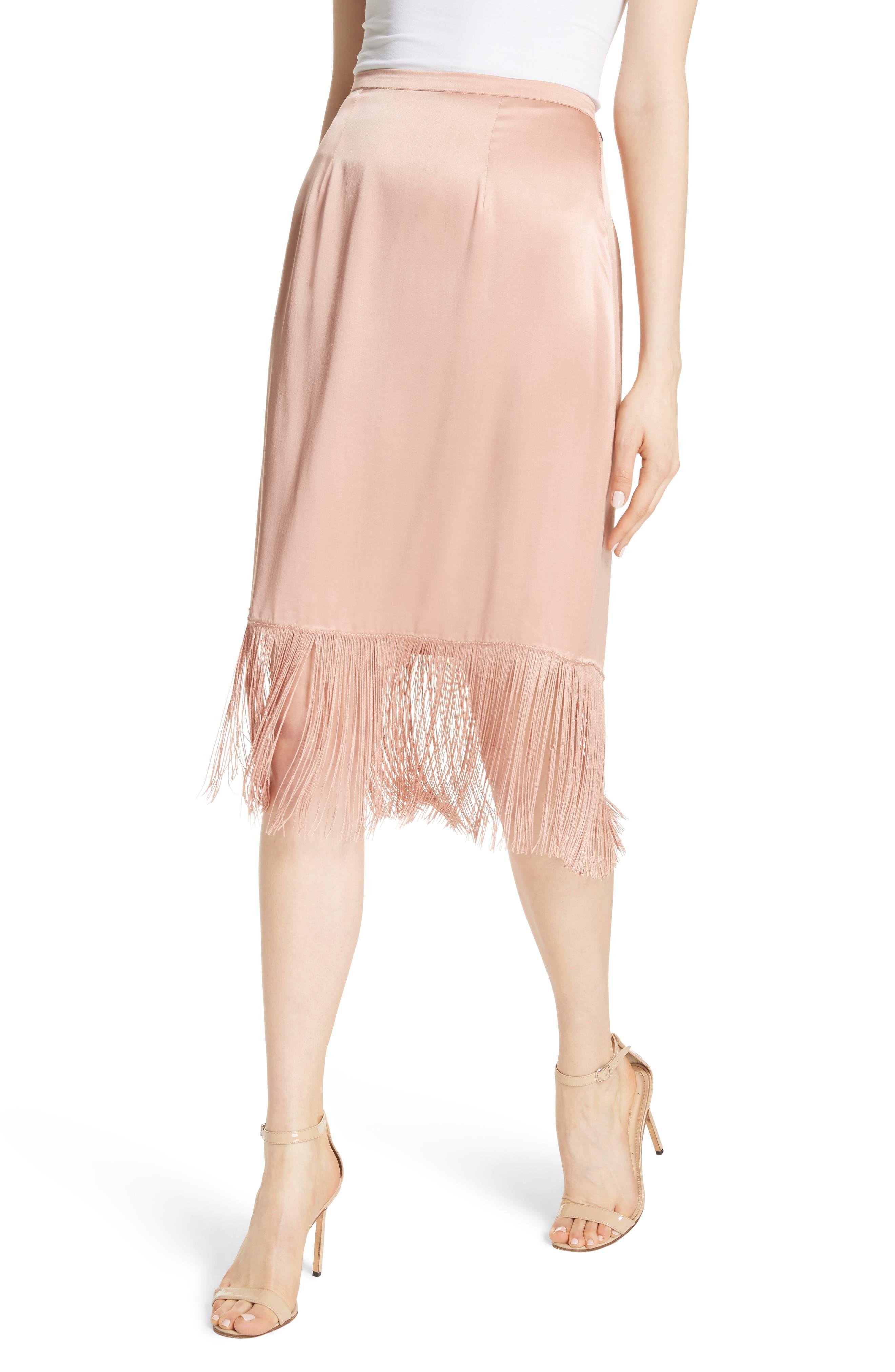 Fringe Silk Skirt,                             Alternate thumbnail 4, color,                             657