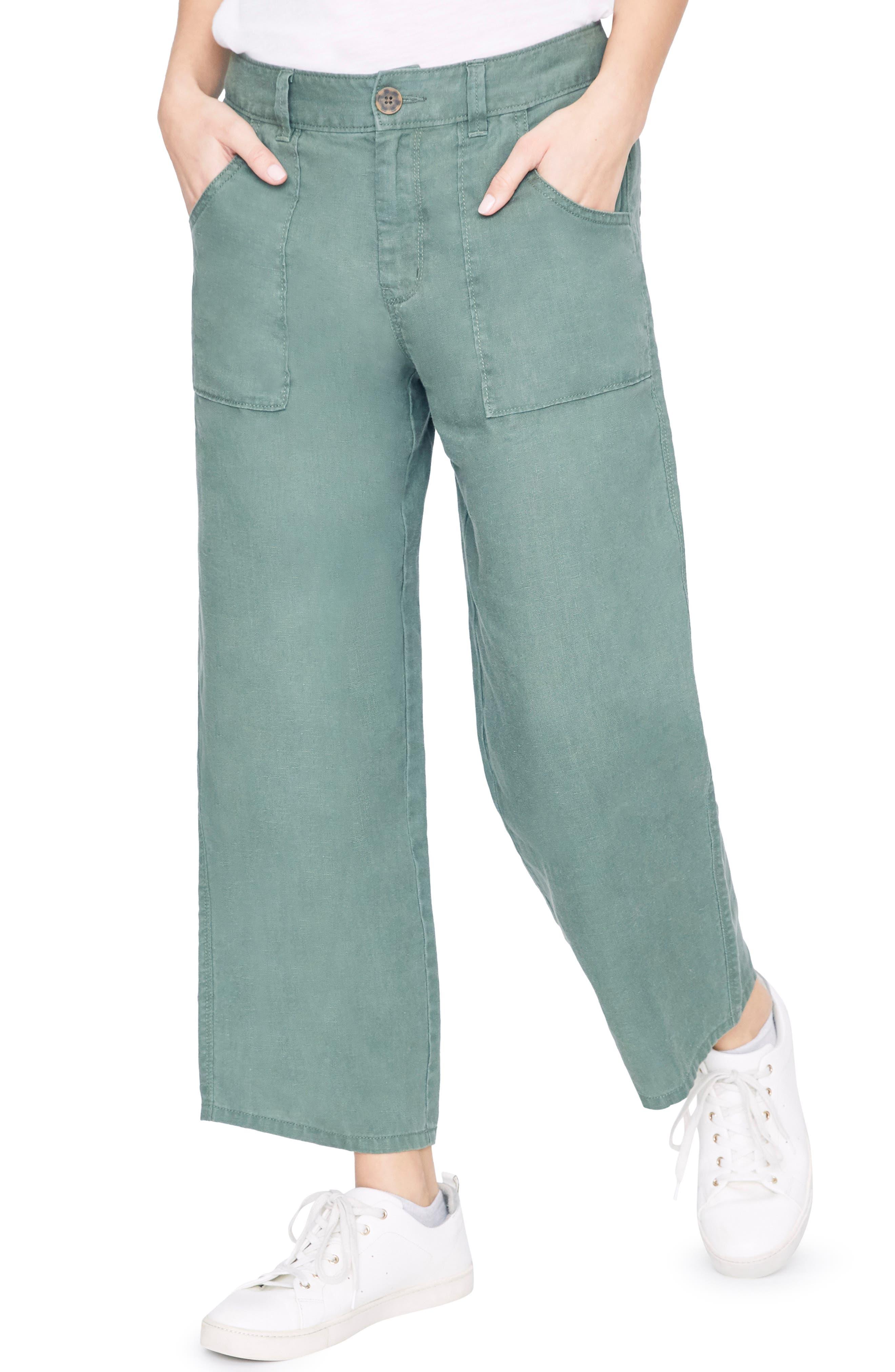 Sanctuary Traveler Wide Leg Crop Pants, Green