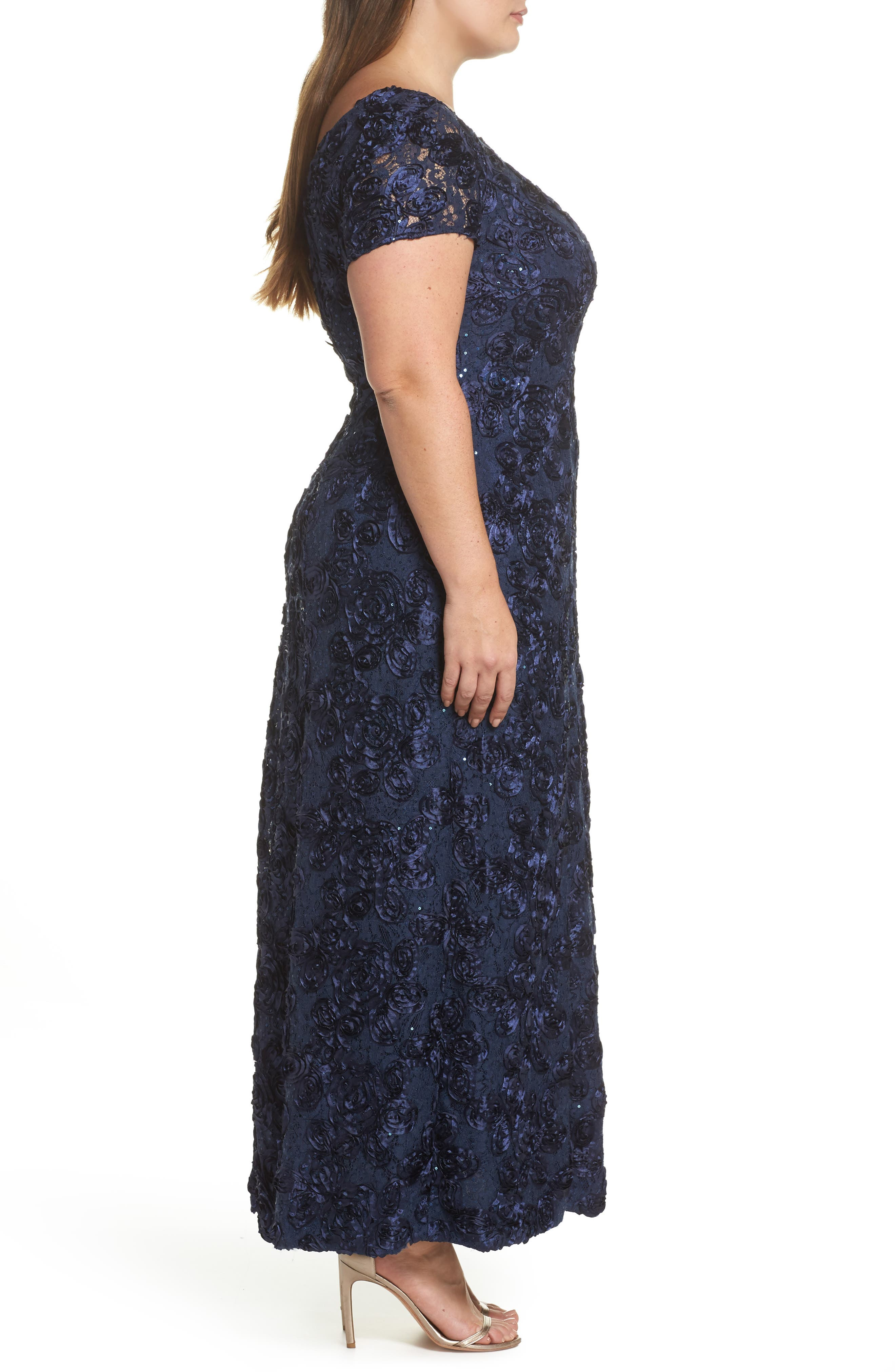 Rosette Lace Short Sleeve A-Line Gown,                             Alternate thumbnail 3, color,                             NAVY