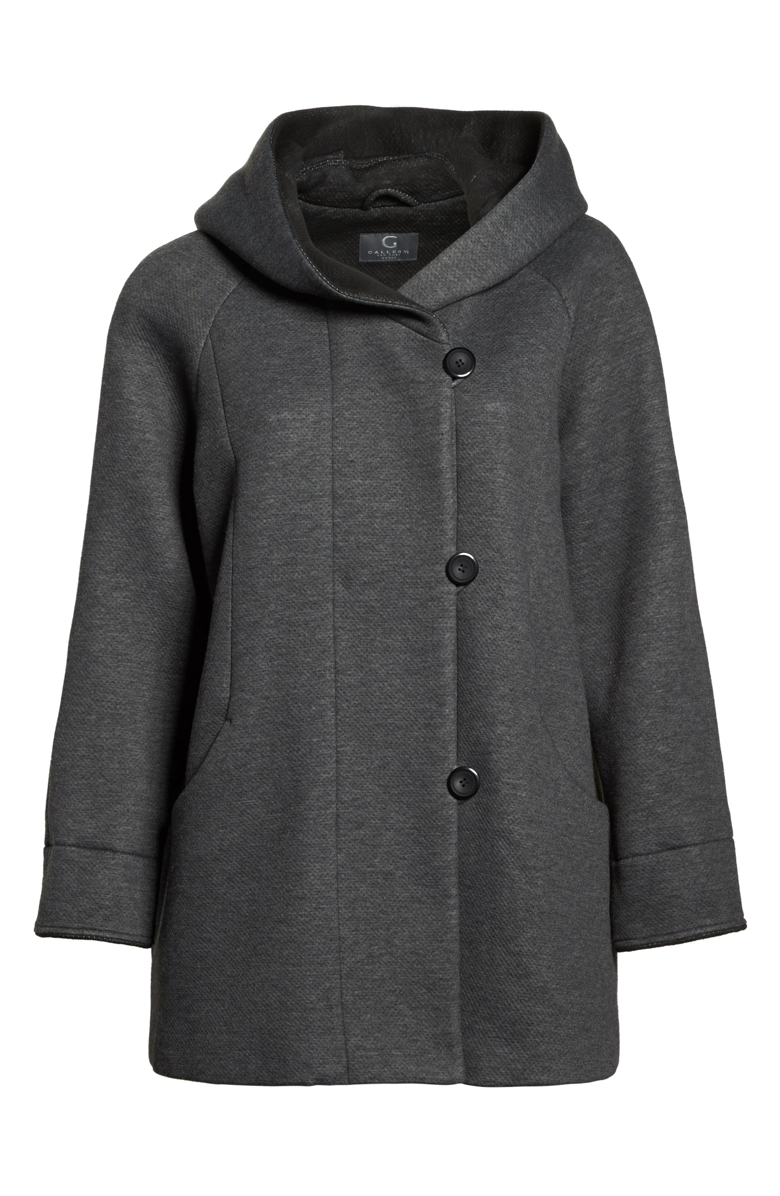 Hooded Double Face Knit Coat,                             Alternate thumbnail 5, color,                             029