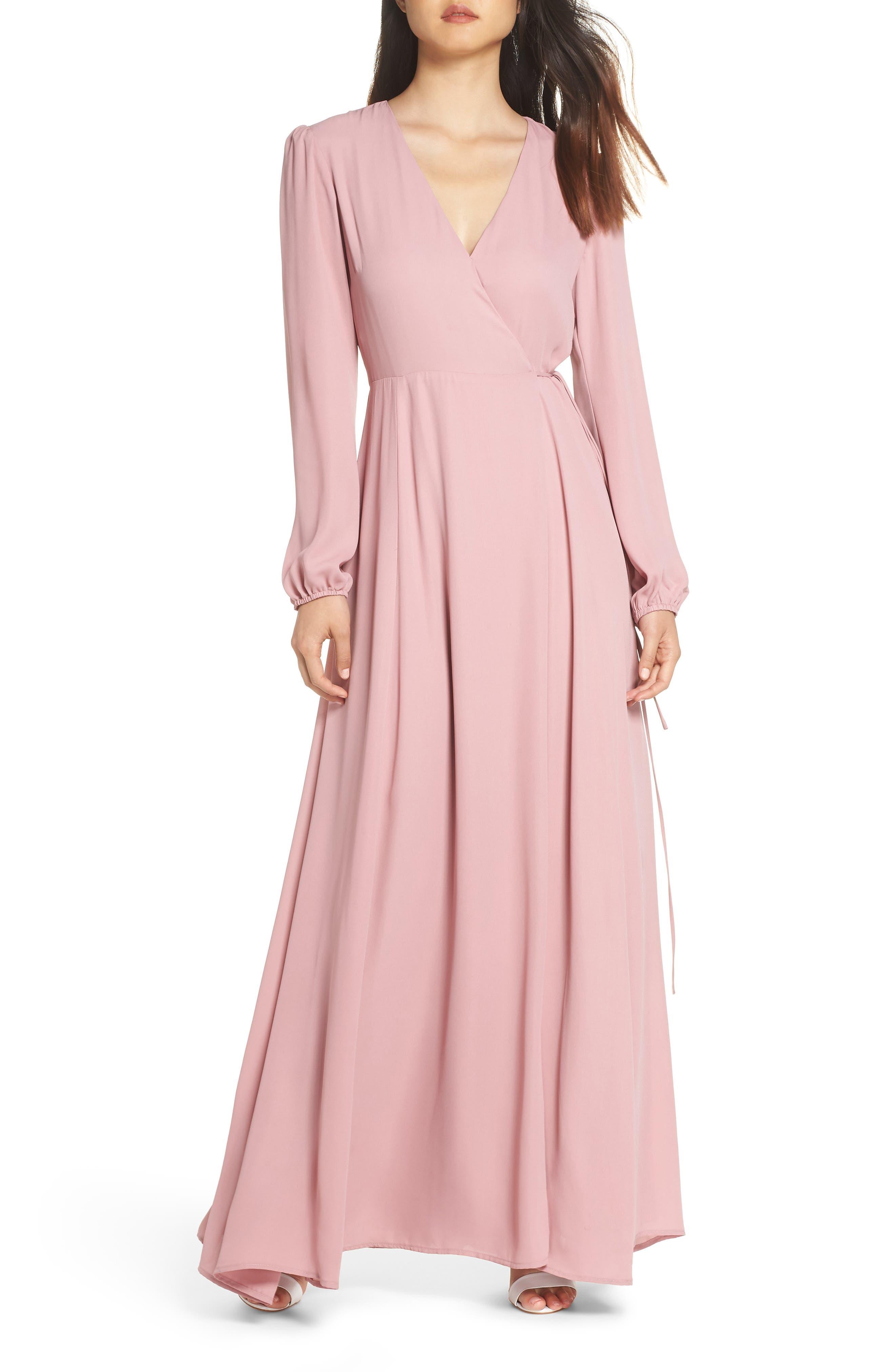 Lila Long Sleeve Wrap Gown,                             Main thumbnail 1, color,                             DESERT ROSE