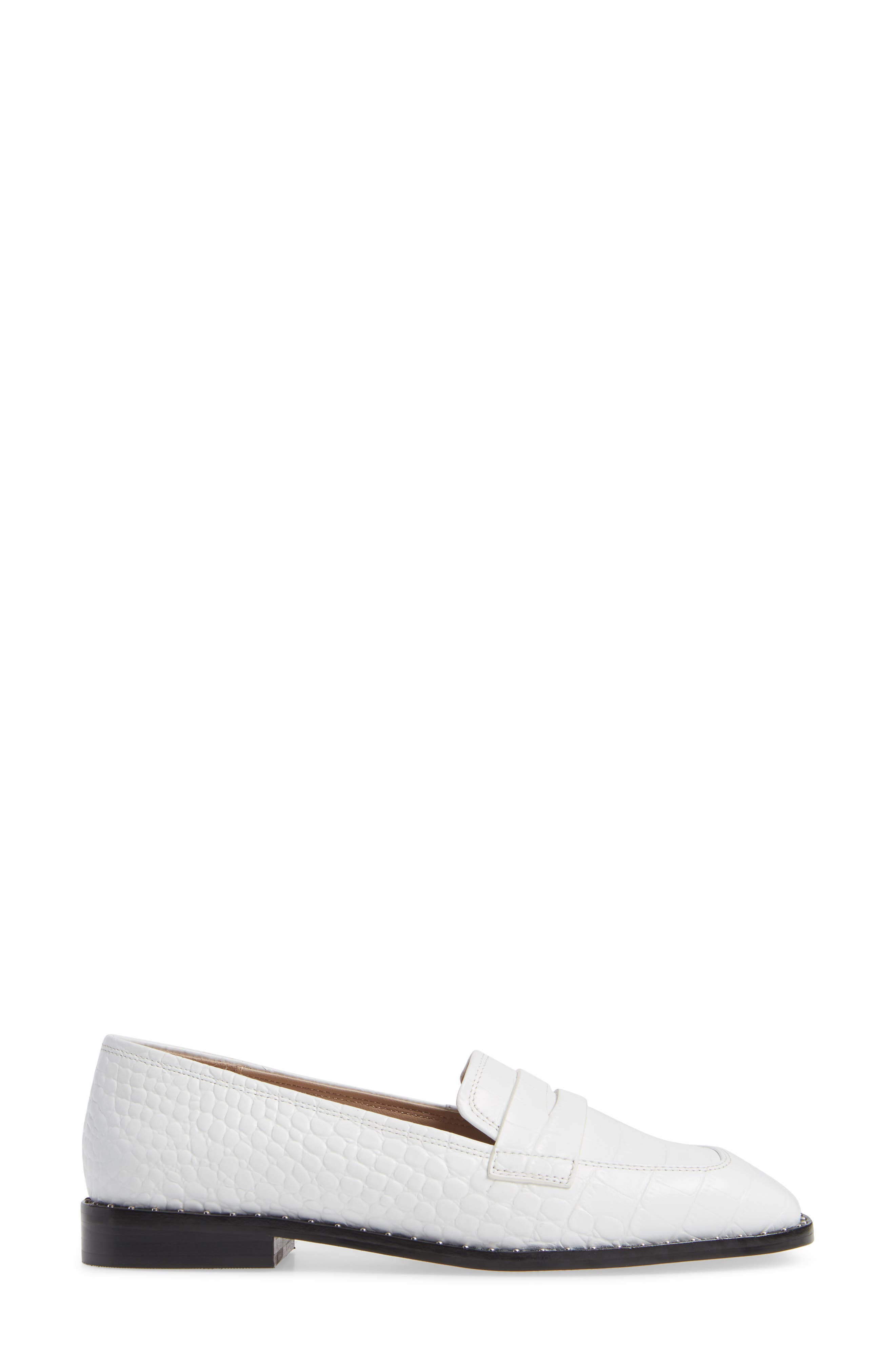 Amado Loafer,                             Alternate thumbnail 3, color,                             WHITE EMBOSSED CROCO LEATHER