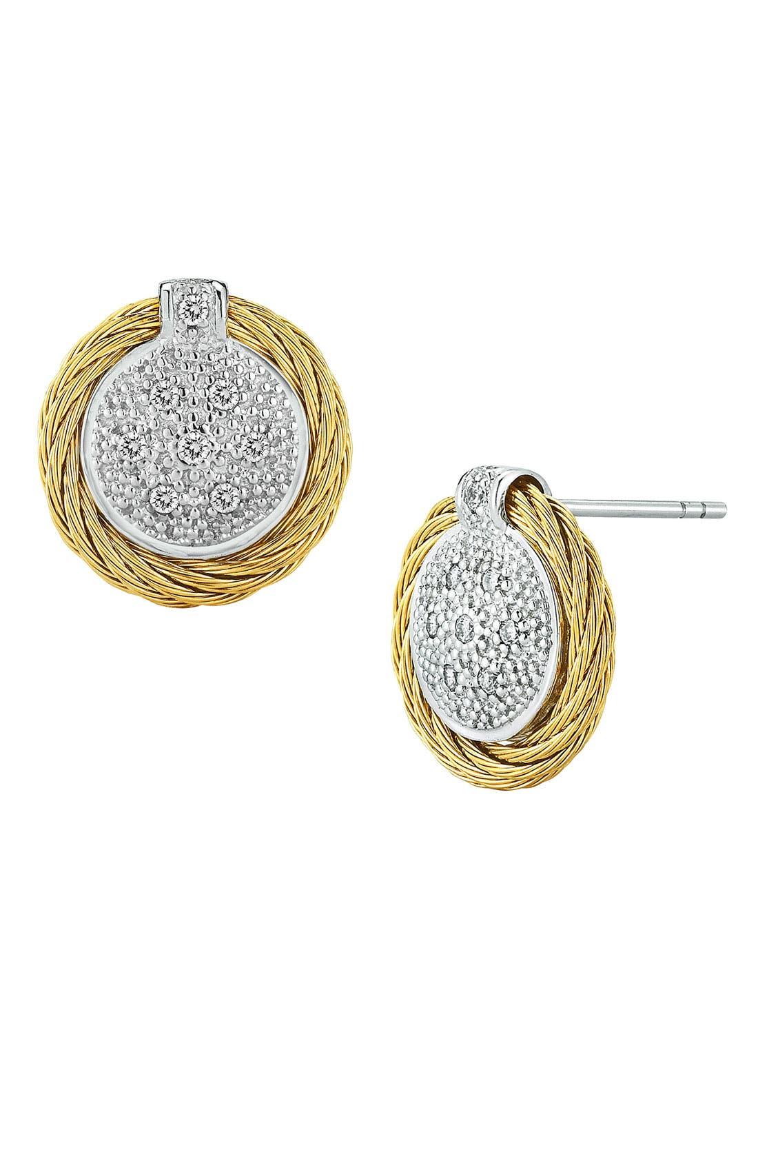 Diamond Button Earrings,                             Main thumbnail 5, color,