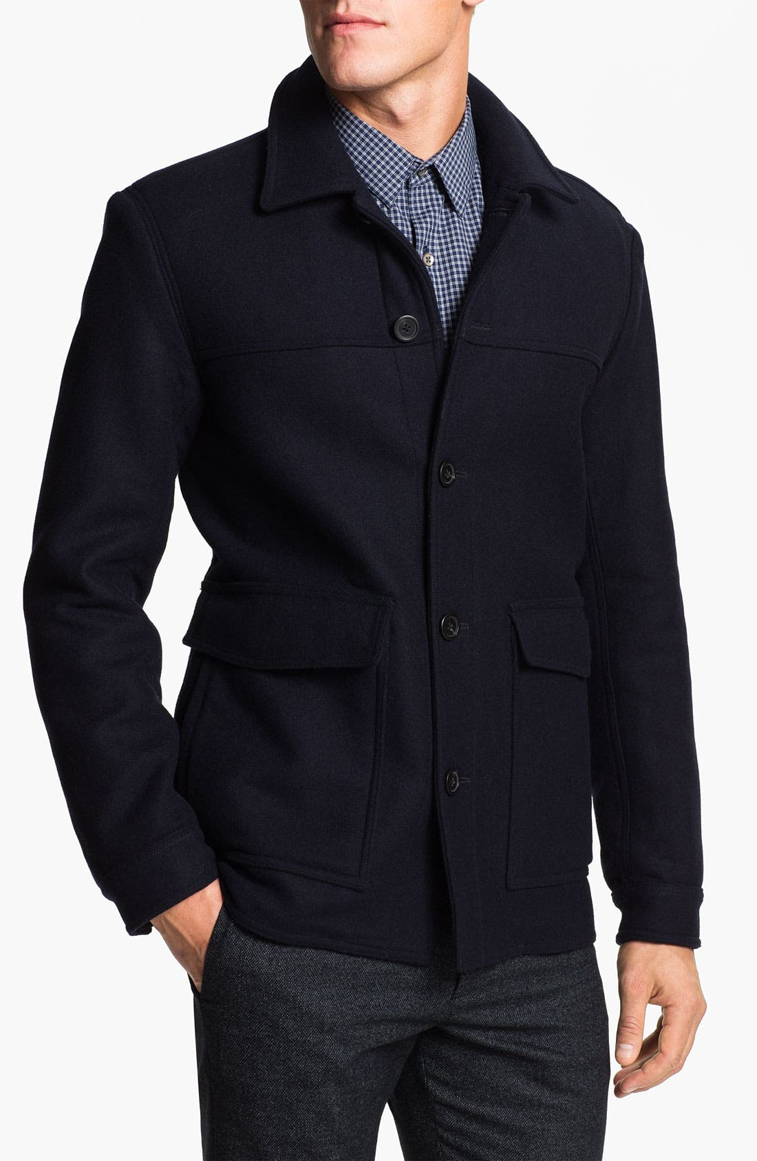 THEORY,                             Wool & Cashmere Blend Coat,                             Main thumbnail 1, color,                             025