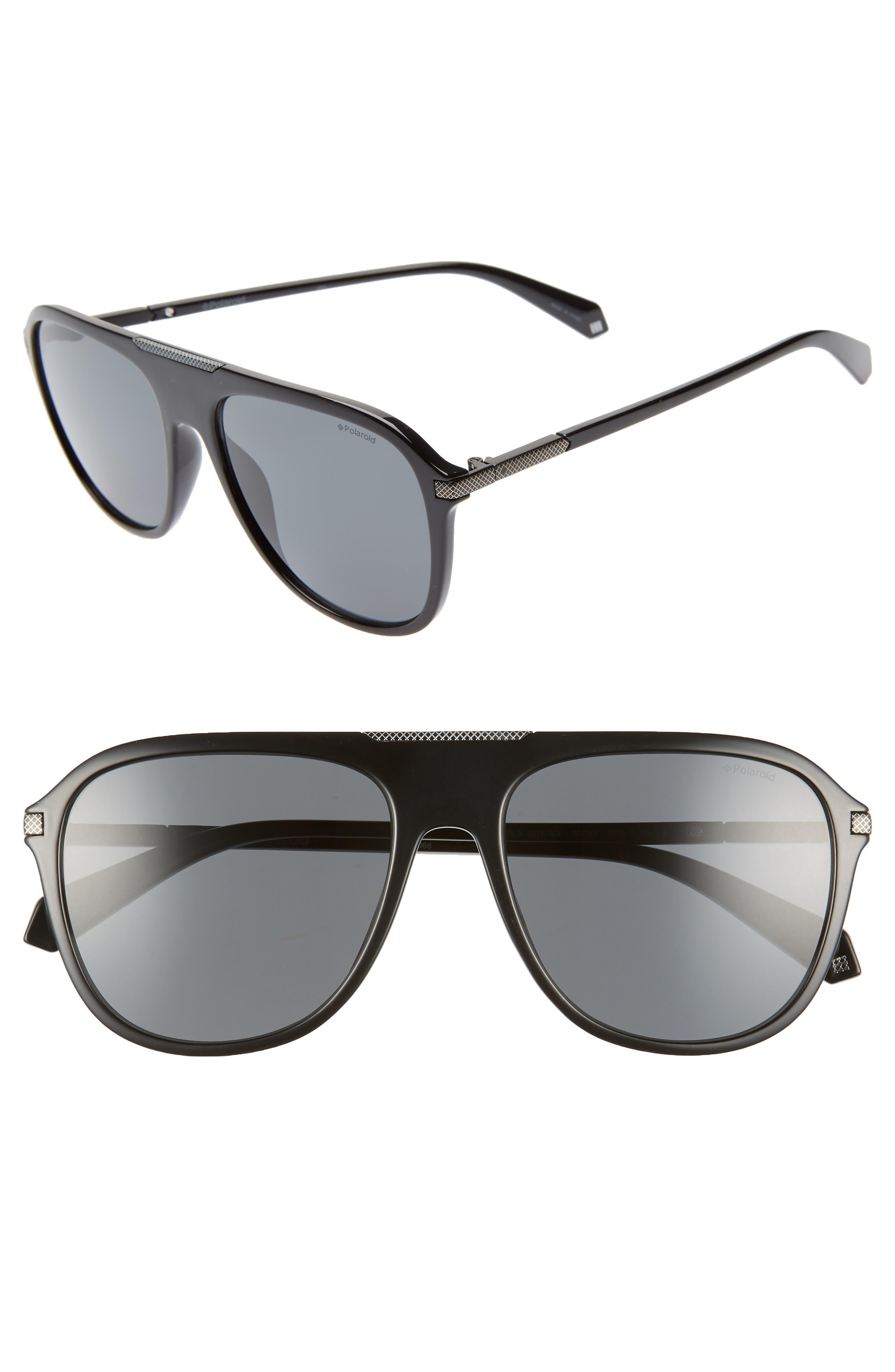 58mm Polarized Aviator Sunglasses,                             Main thumbnail 1, color,                             BLACK