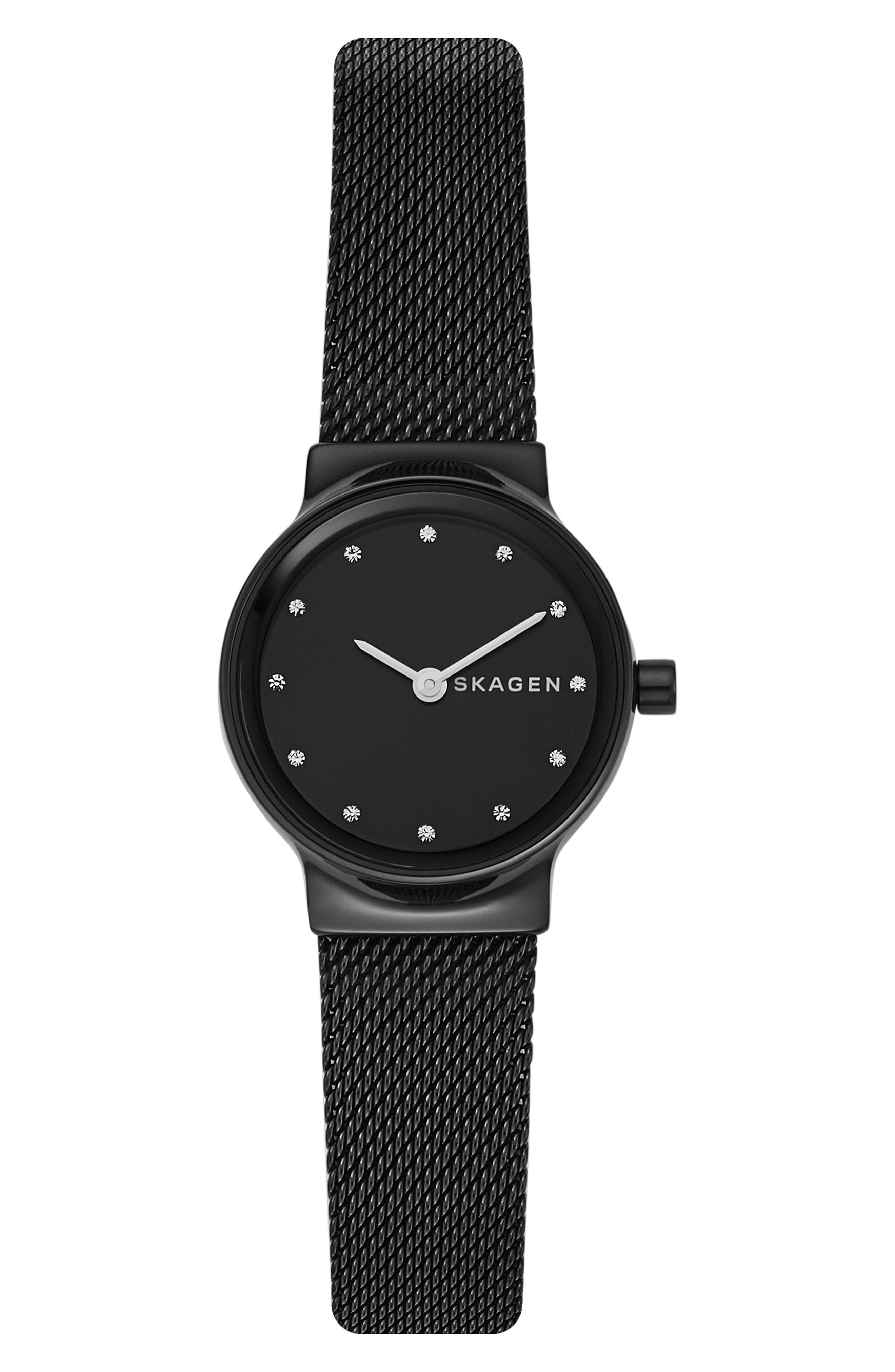 Freja Crystal Accent Mesh Strap Watch, 26mm,                             Alternate thumbnail 3, color,                             001