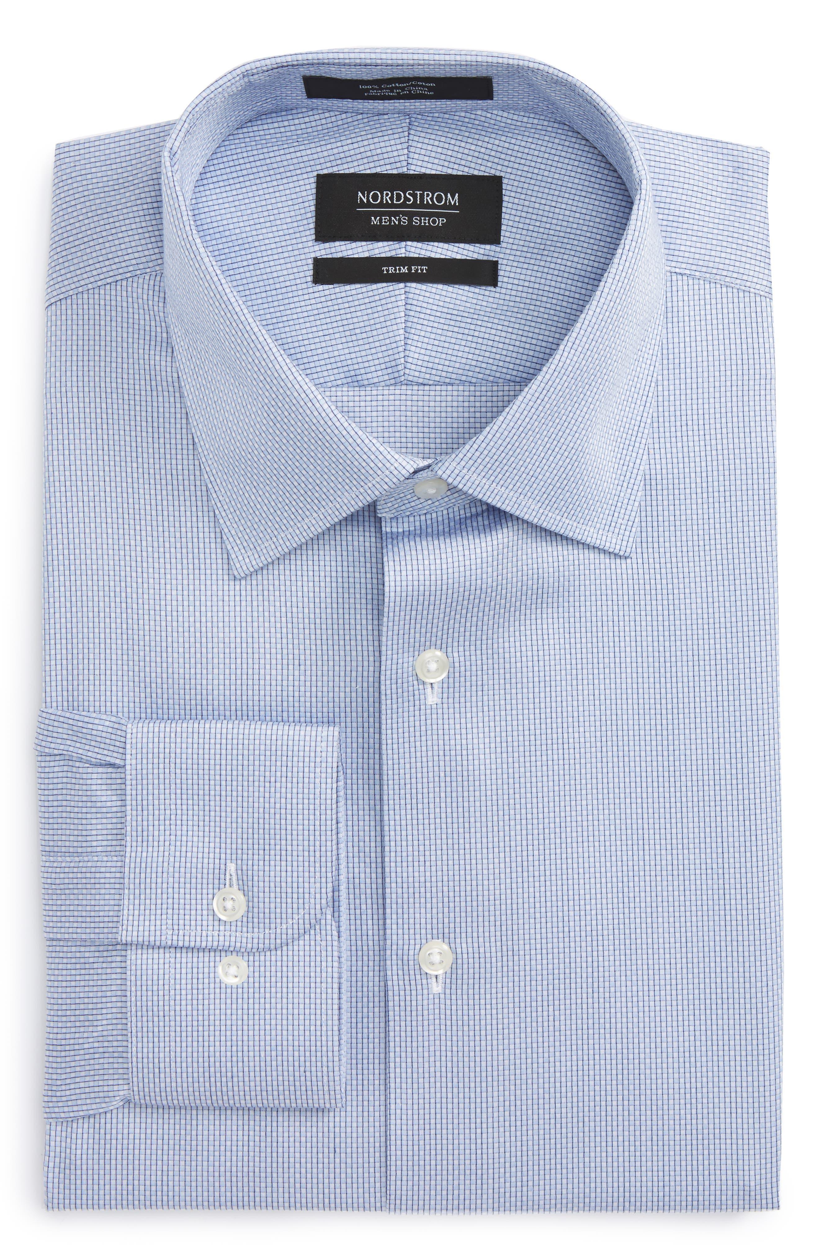 Trim Fit Stripe Dress Shirt,                             Alternate thumbnail 14, color,