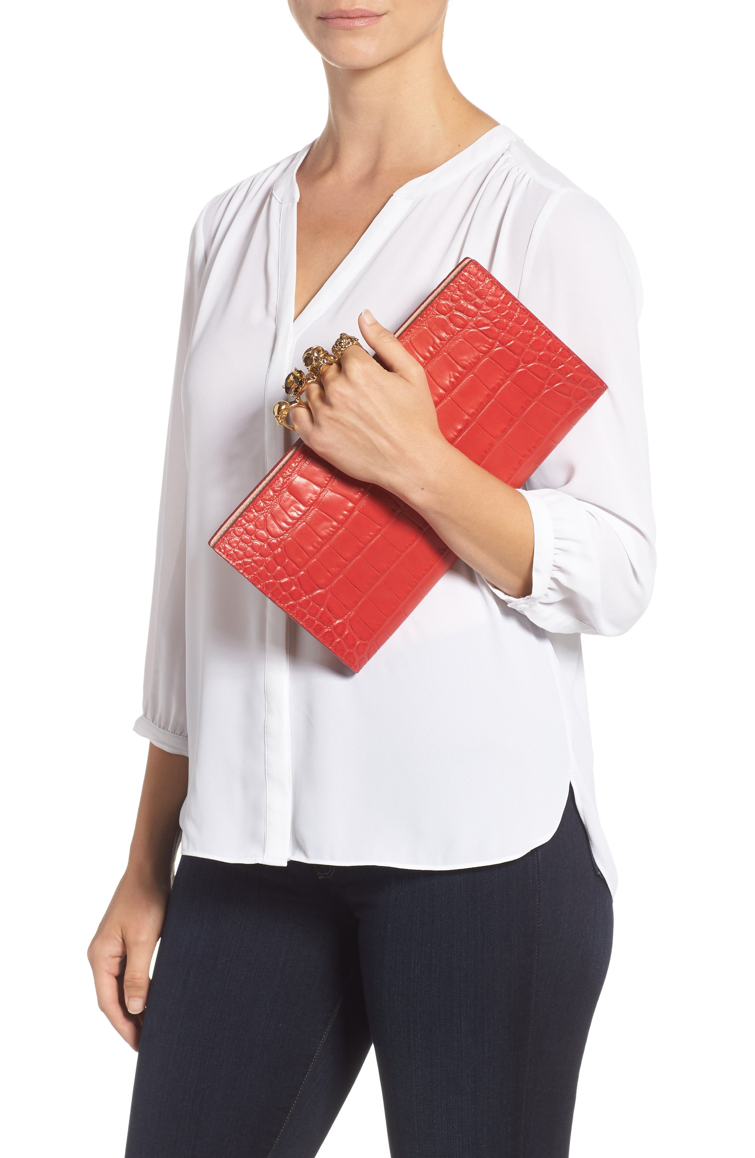 Croc Embossed Leather Knuckle Clutch,                             Alternate thumbnail 2, color,                             SCARLET RED