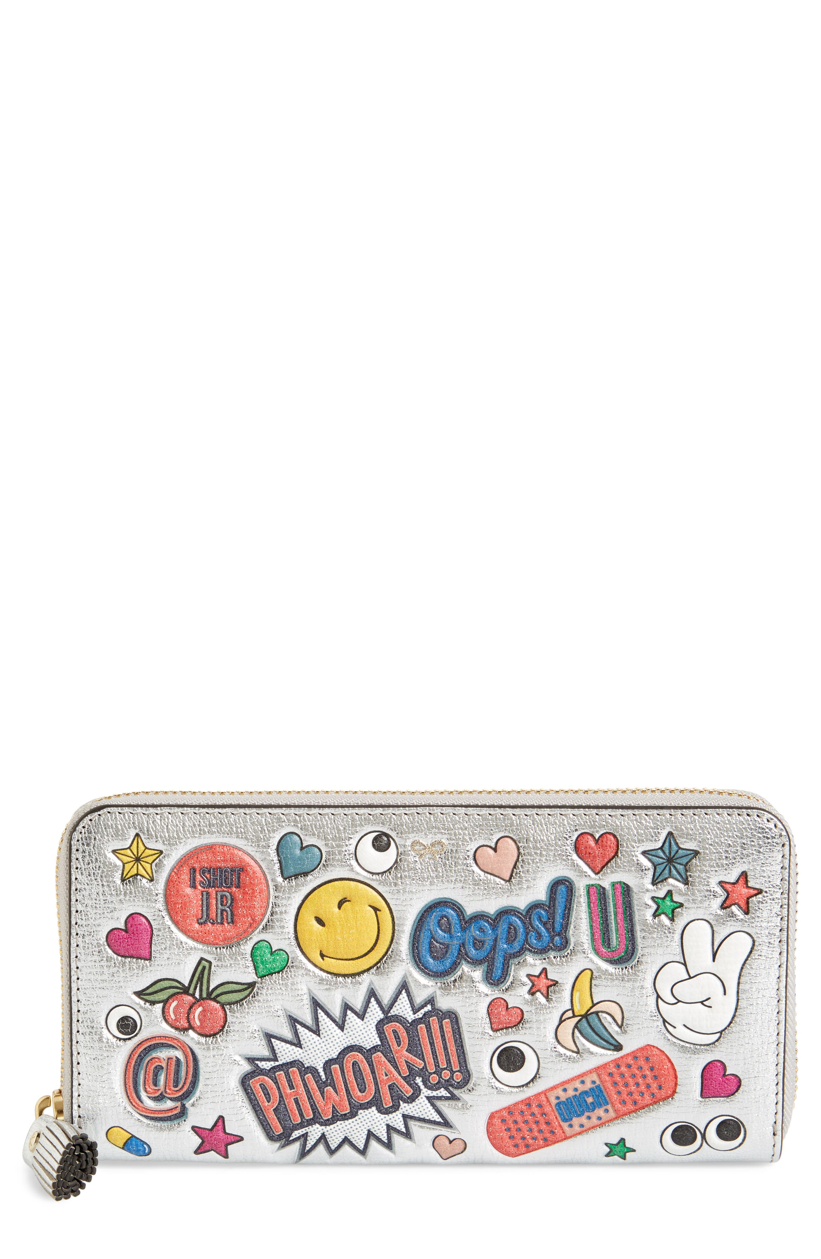 Allover Stickers Leather Zip Around Wallet,                             Main thumbnail 1, color,                             040