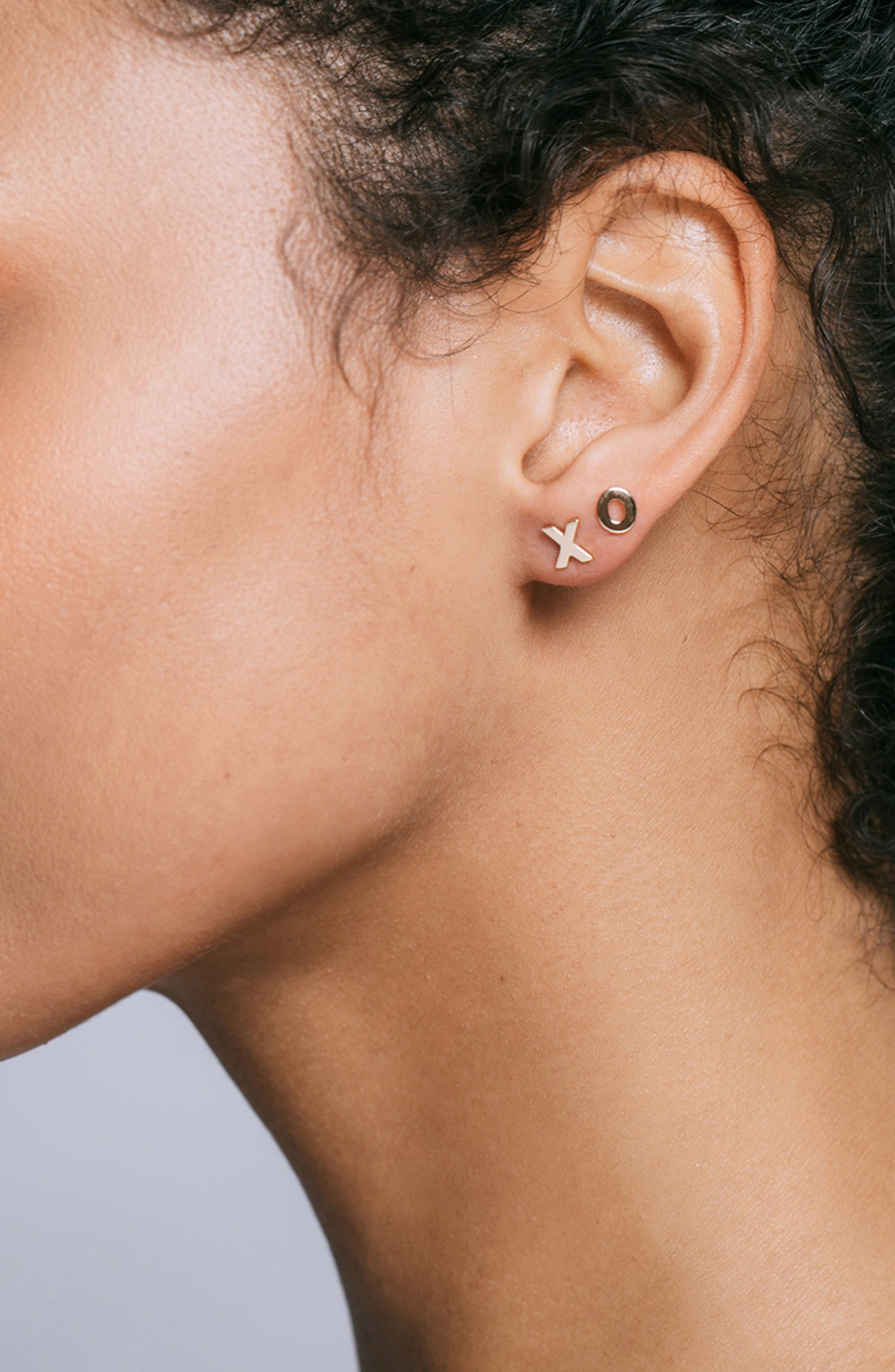XO Stud Earrings,                             Alternate thumbnail 3, color,                             GOLD