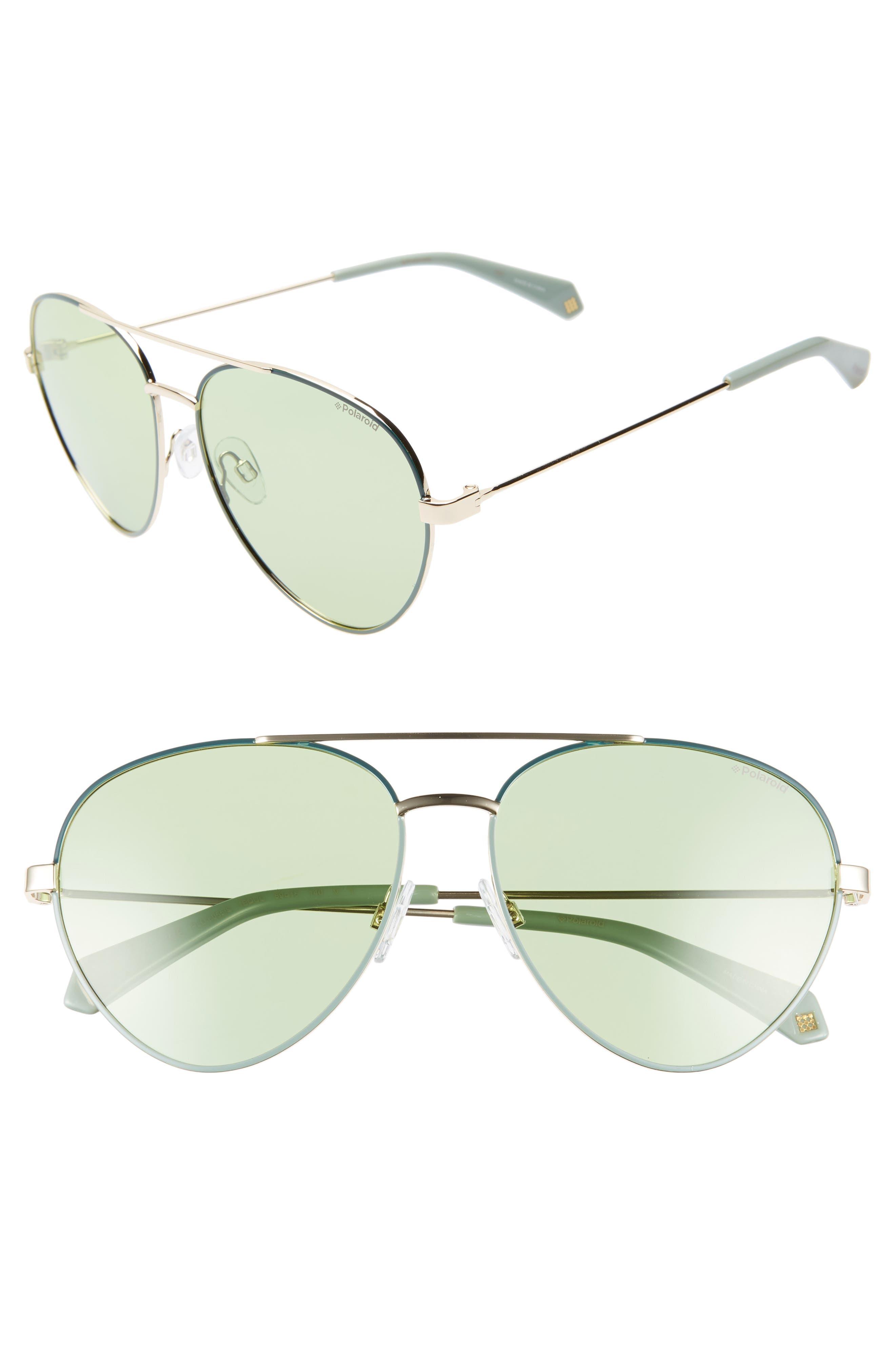 POLAROID 59Mm Polarized Aviator Sunglasses - Green