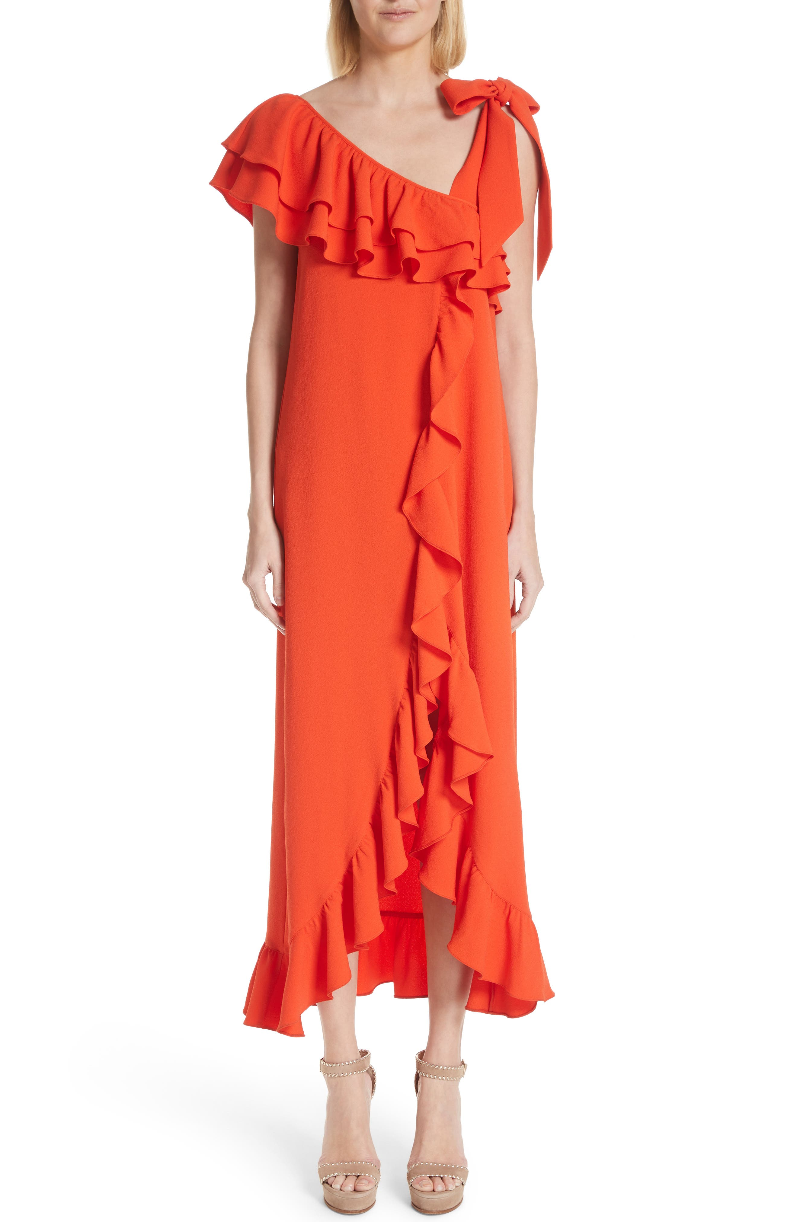 Clark Ruffle Maxi Dress,                         Main,                         color, BIG APPLE RED